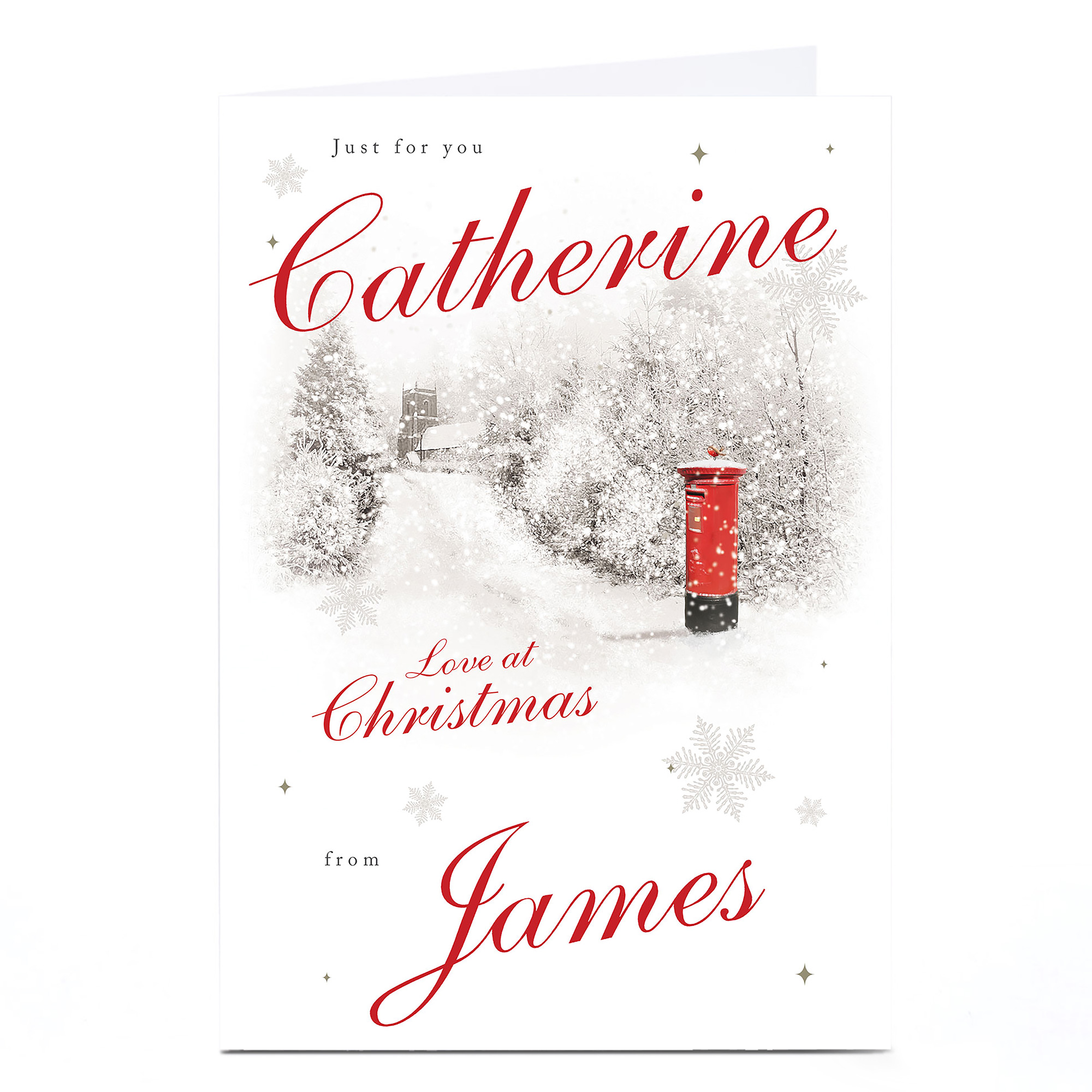 Personalised Christmas Card - Snowy Red Post Box