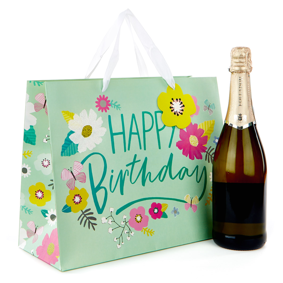 Medium Landscape Gift Bag - Happy Birthday, Floral