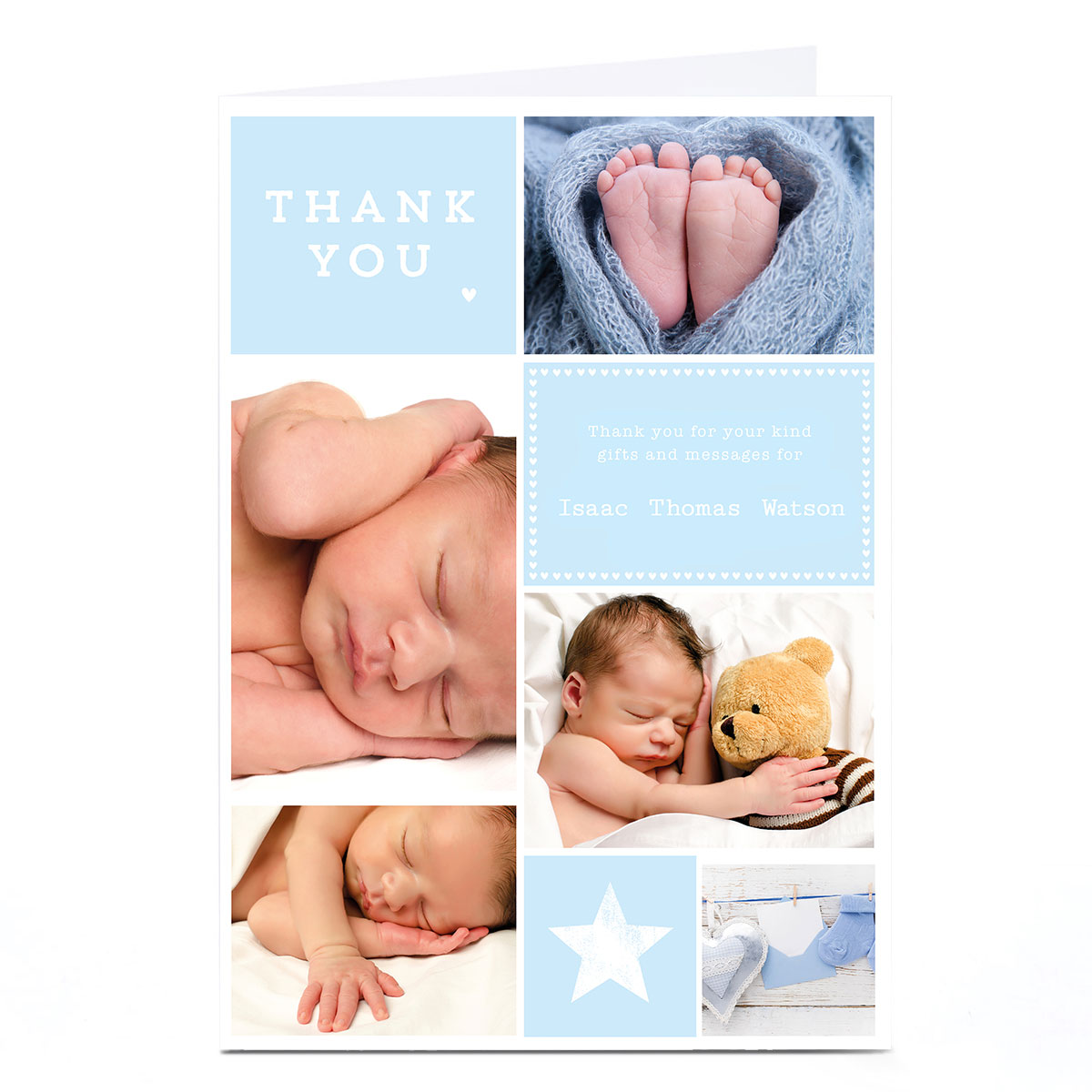 Photo New Baby Card - Blue Thank You