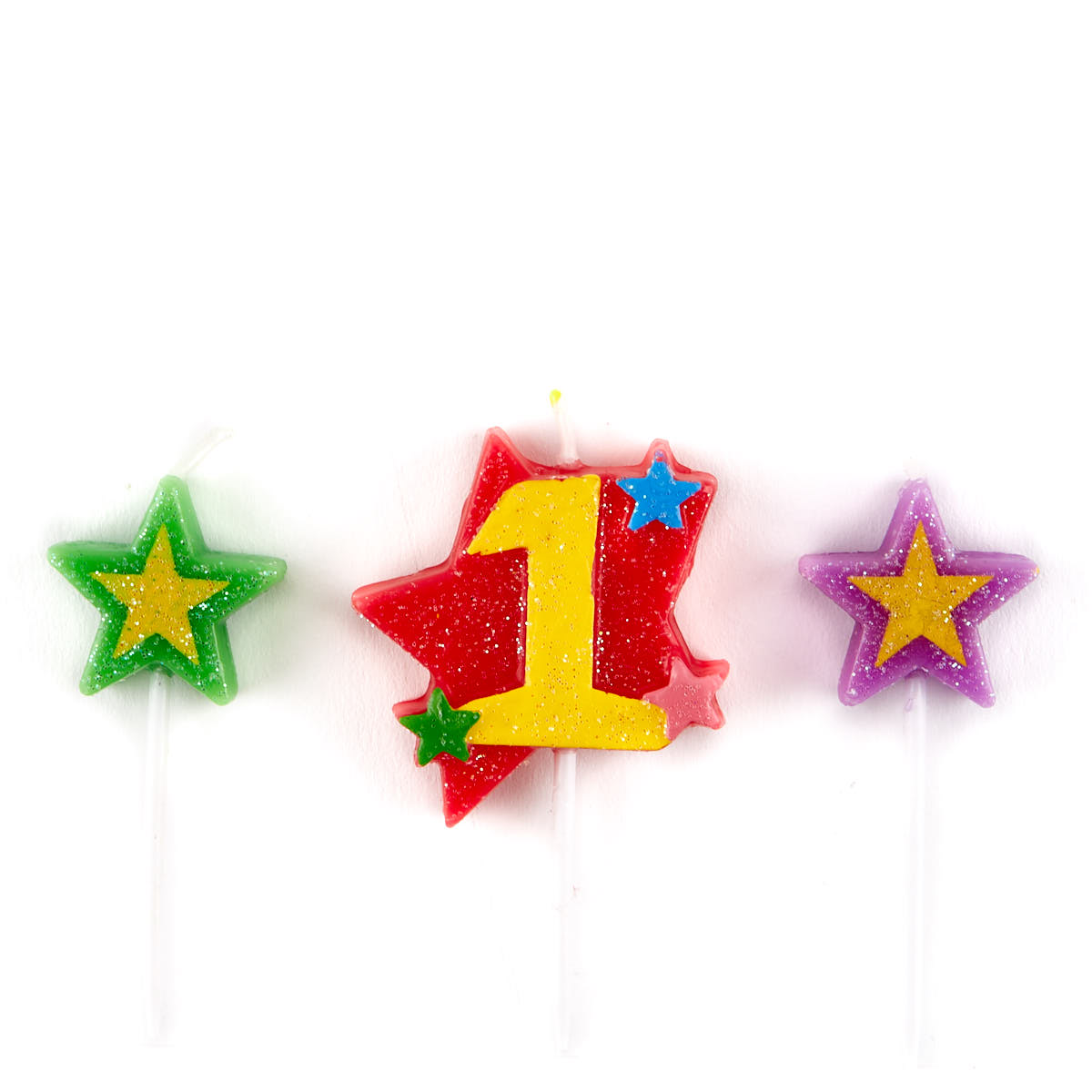 Number 1 Star Birthday Candles - Pack Of 3