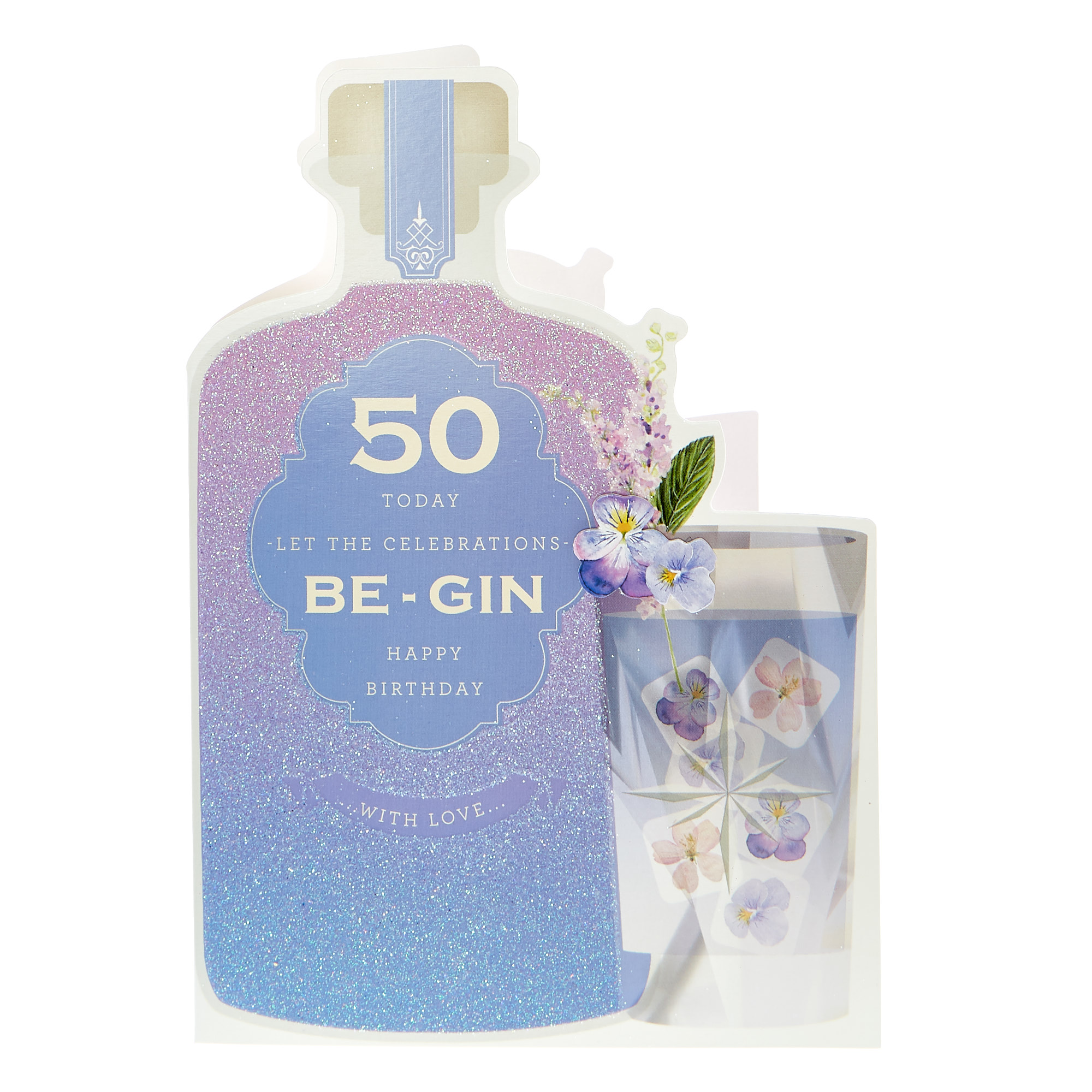 50th Birthday Card - Let The Celebrations Be-Gin