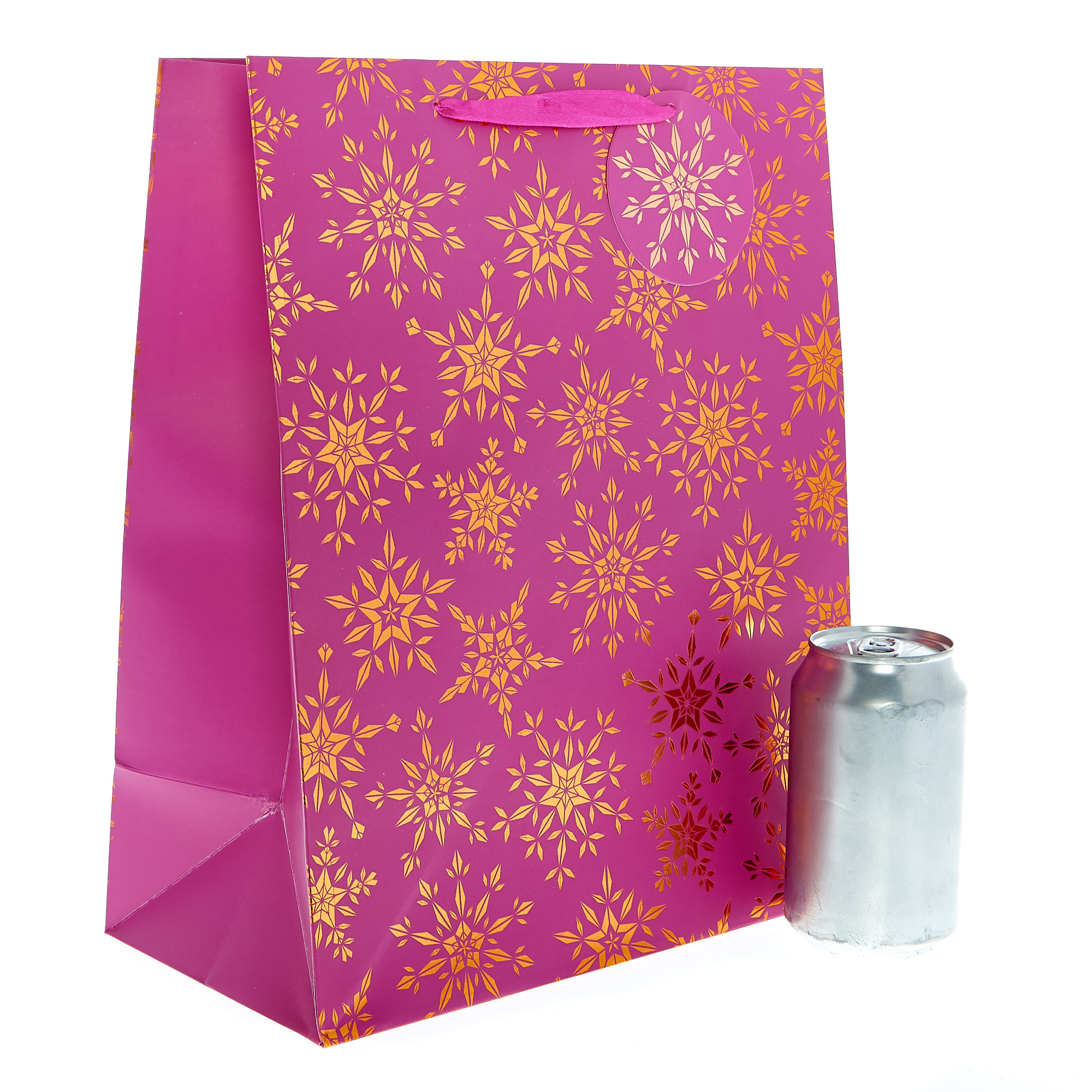 Medium Portrait Pink & Bronze Snowflakes Christmas Gift Bag