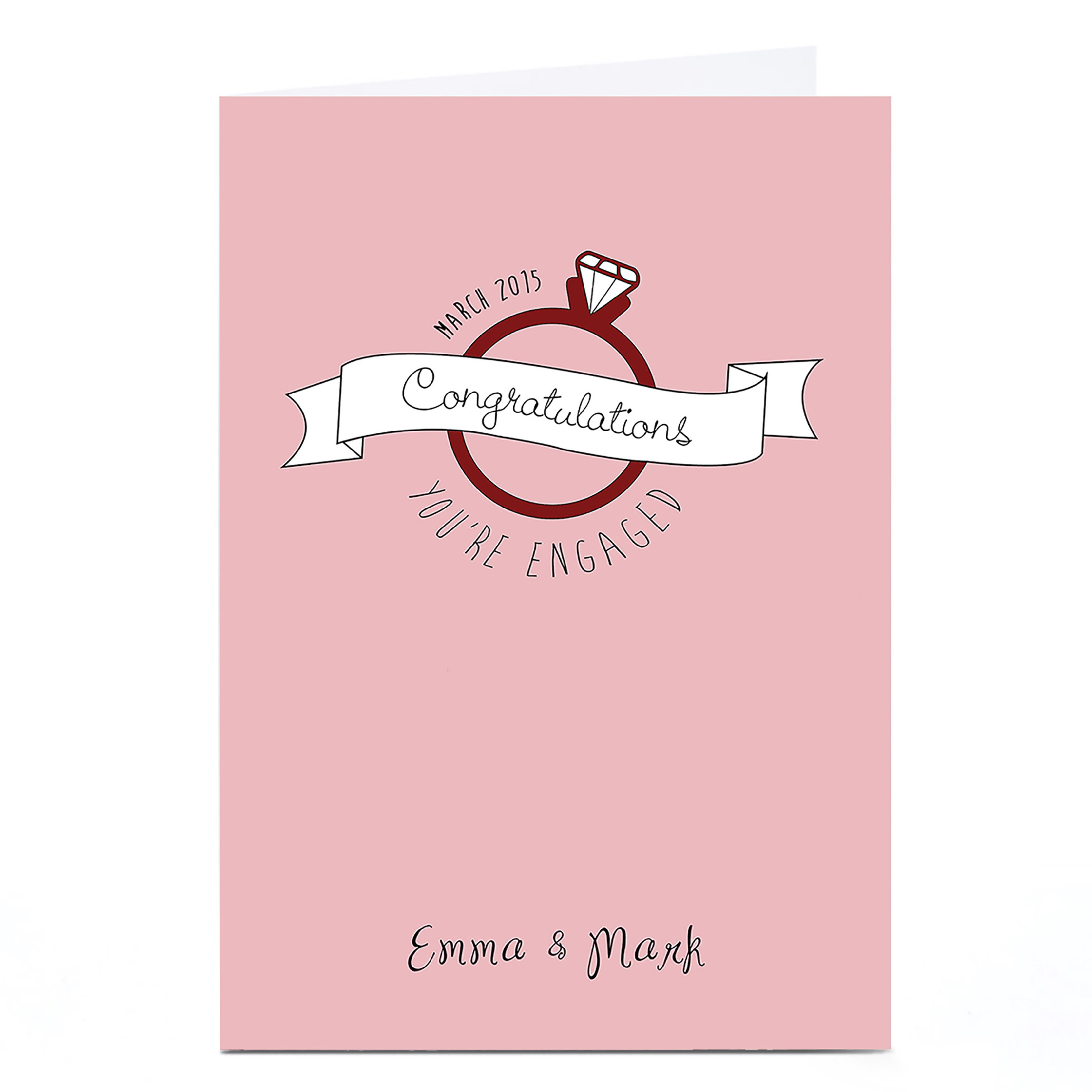 Personalised Engagement Card - Pink Diamond Ring
