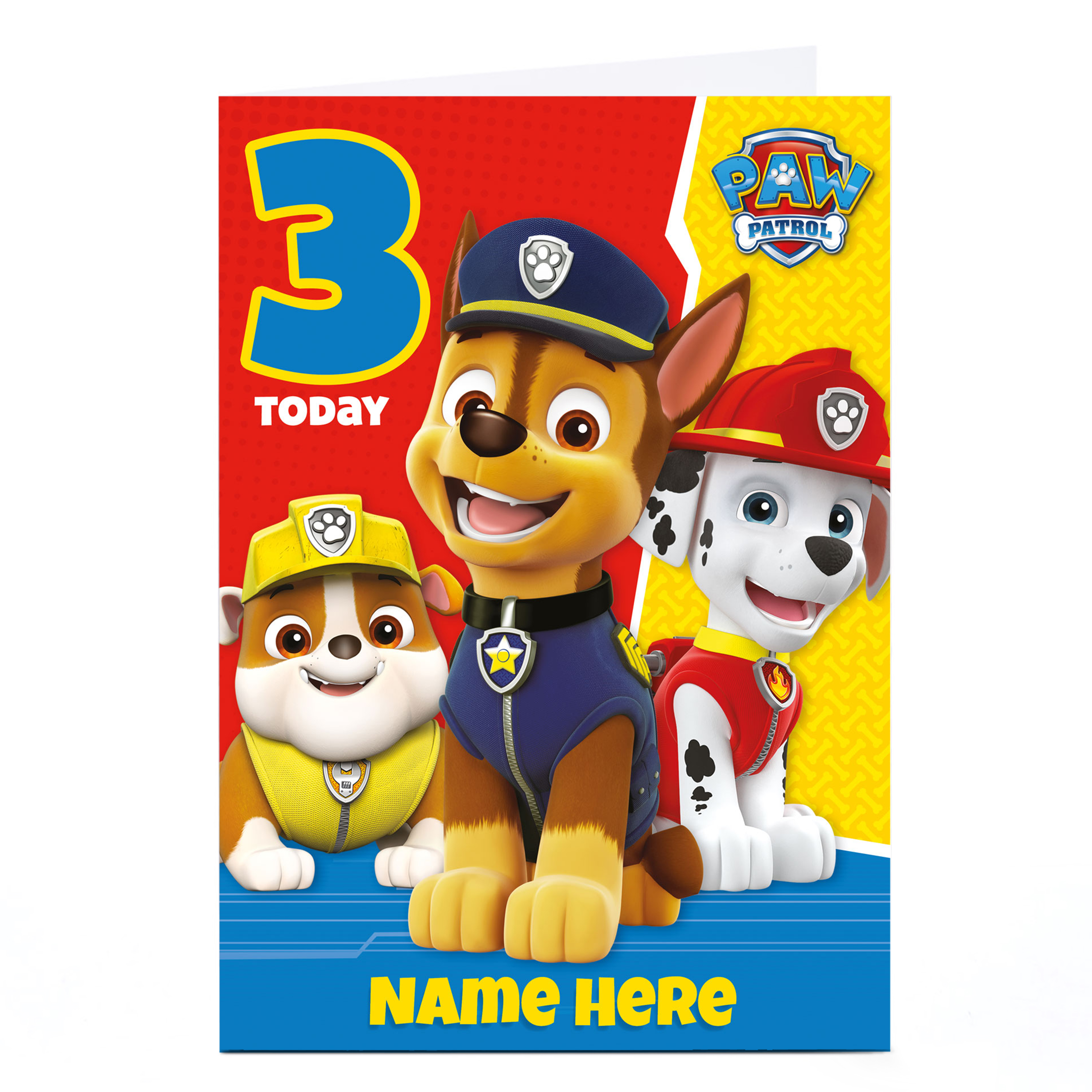 Personalised Paw Patrol Card - 3 Today
