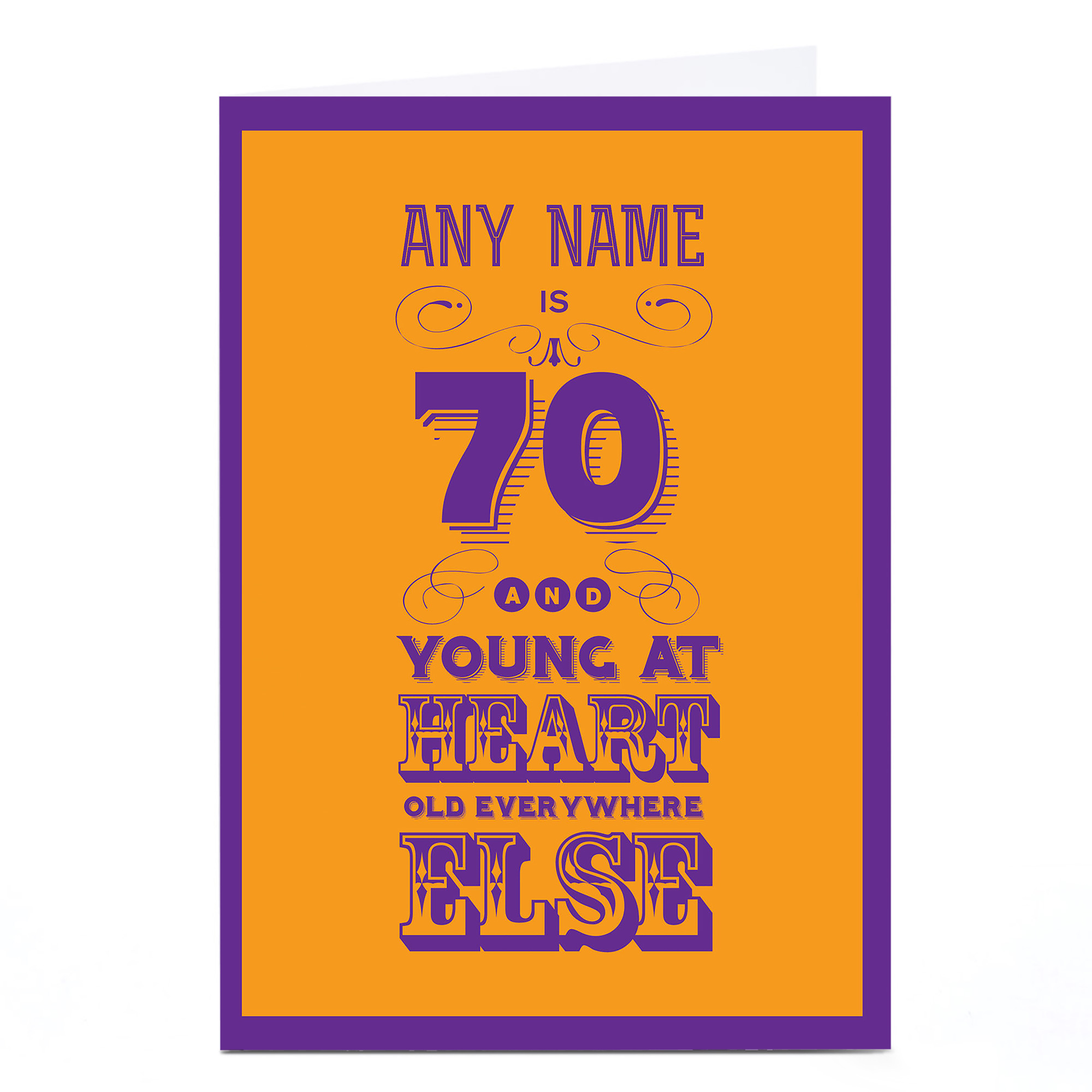 Personalised 70th Birthday Card - Young At Heart...