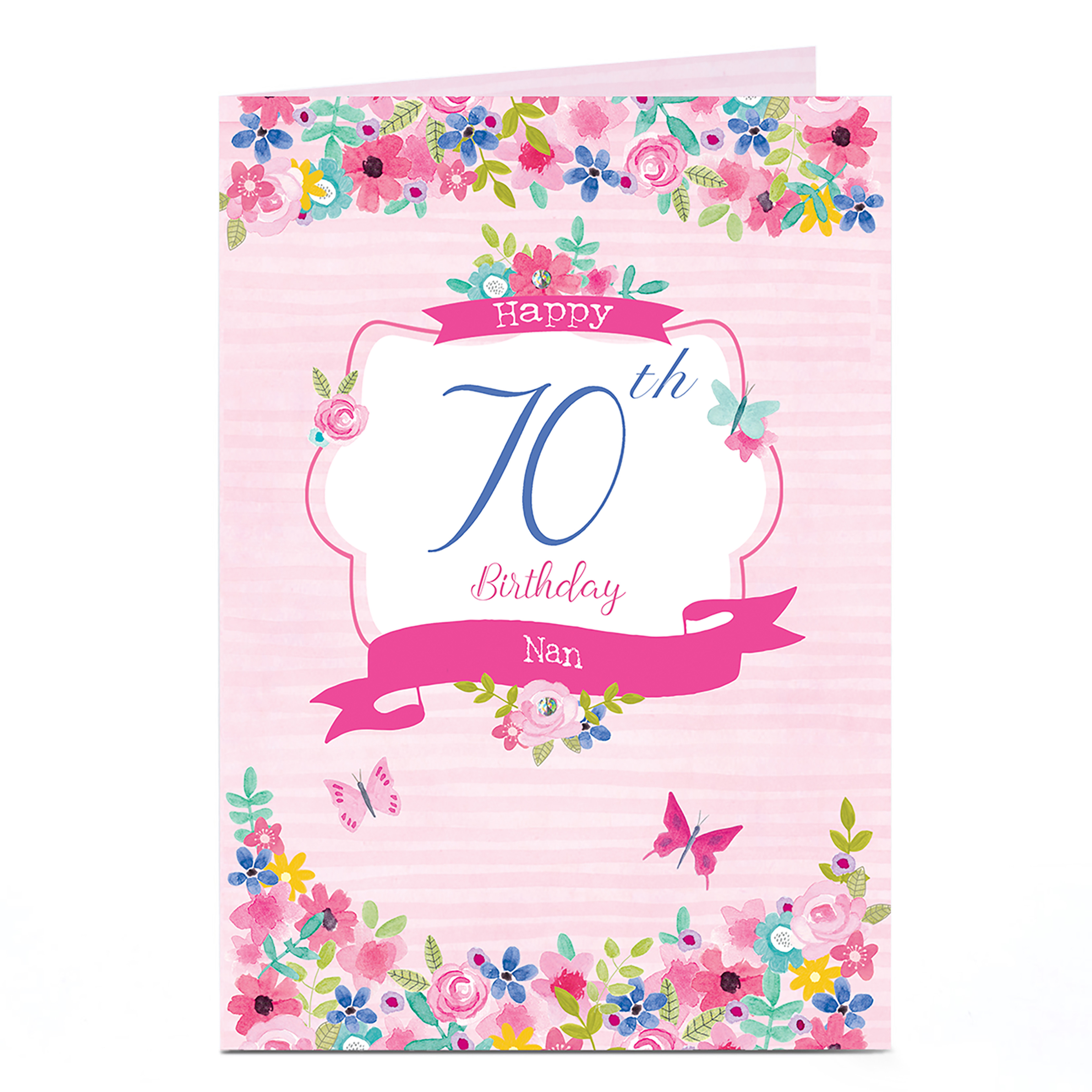 Personalised Any Age Birthday Card - Floral Nan