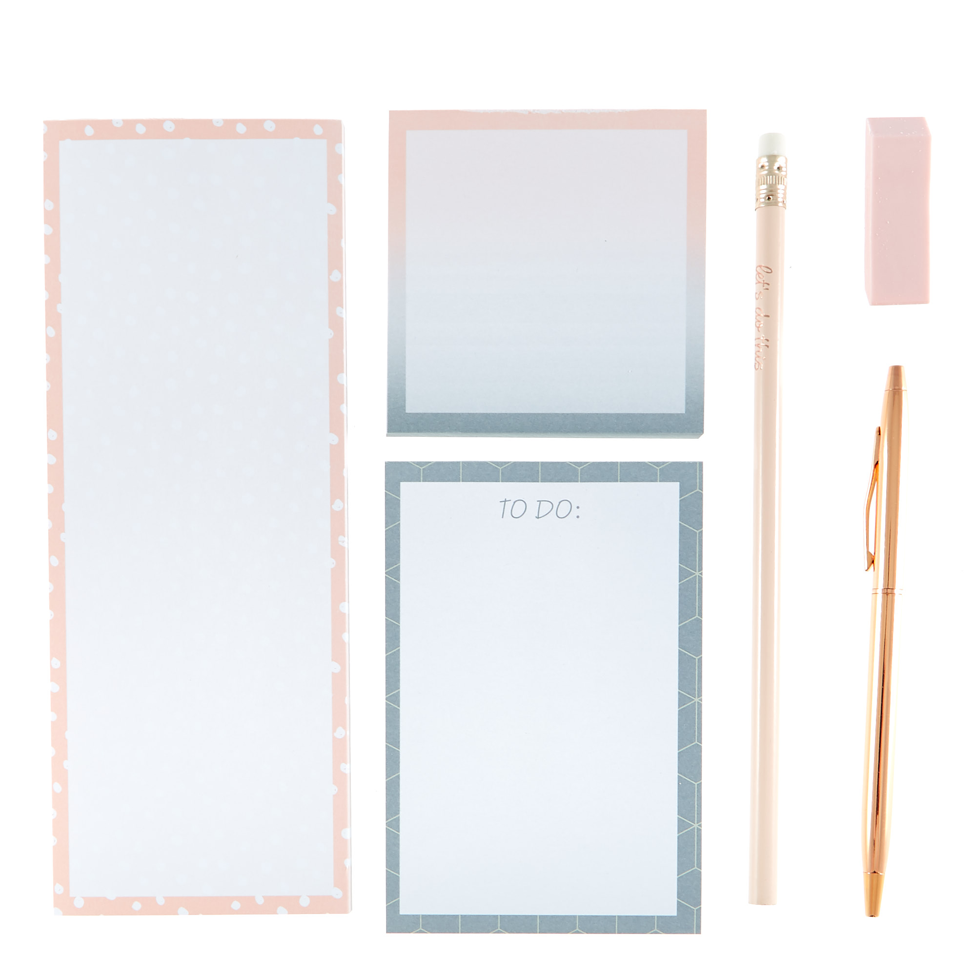 Rose & Grey Note Pad & Stationery Set