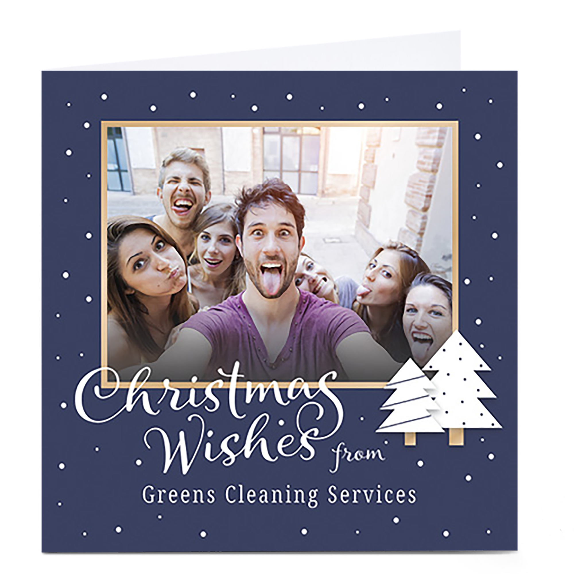 Photo Christmas Card - Christmas Wishes Navy