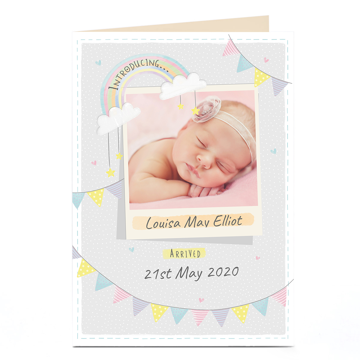New Baby Photo Card - Pastel Bunting