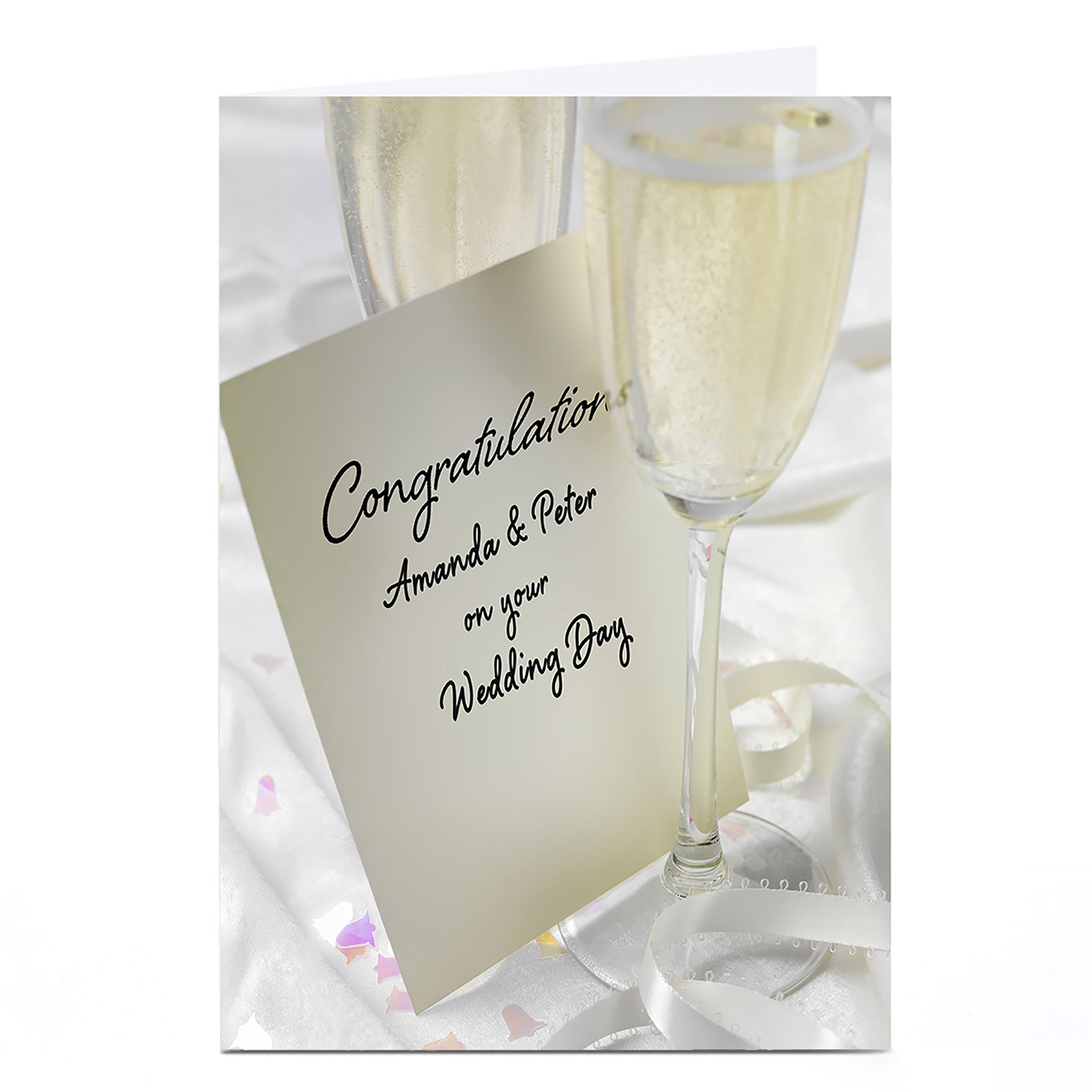 Personalised Wedding Card - Champagne Flutes