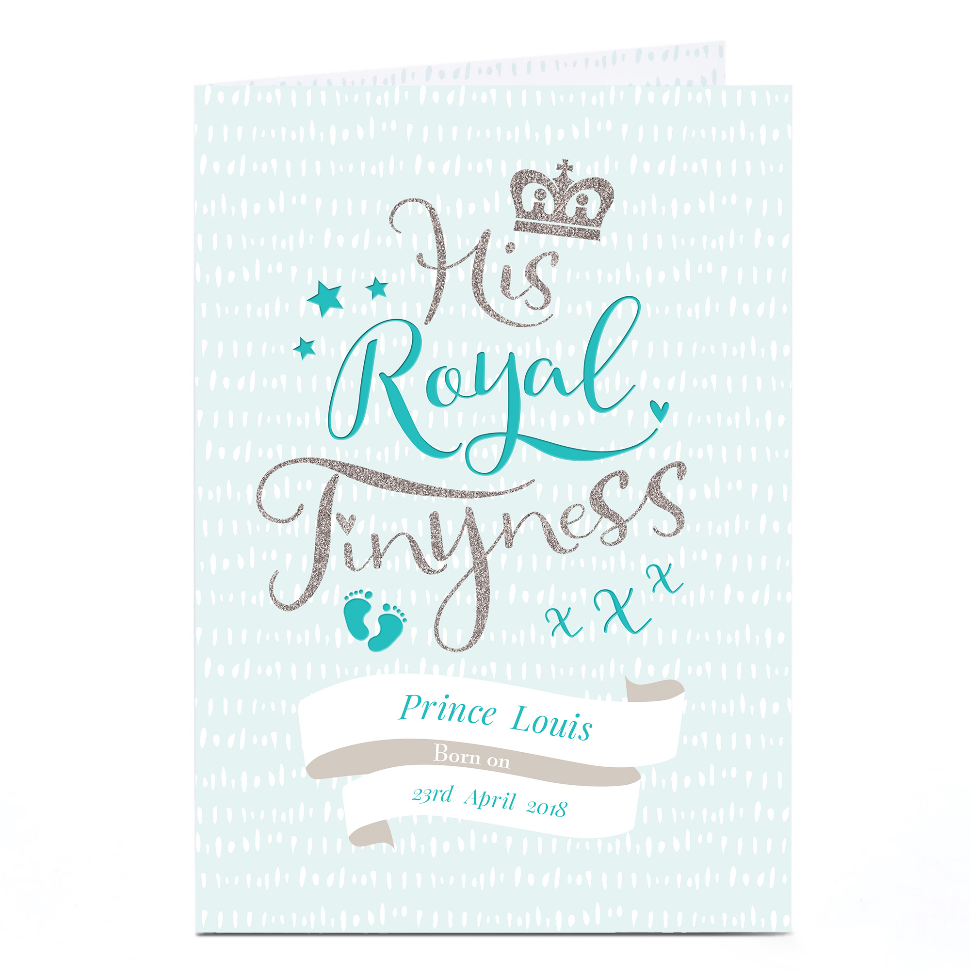 Personalised New Baby Card - His Royal Tinyness