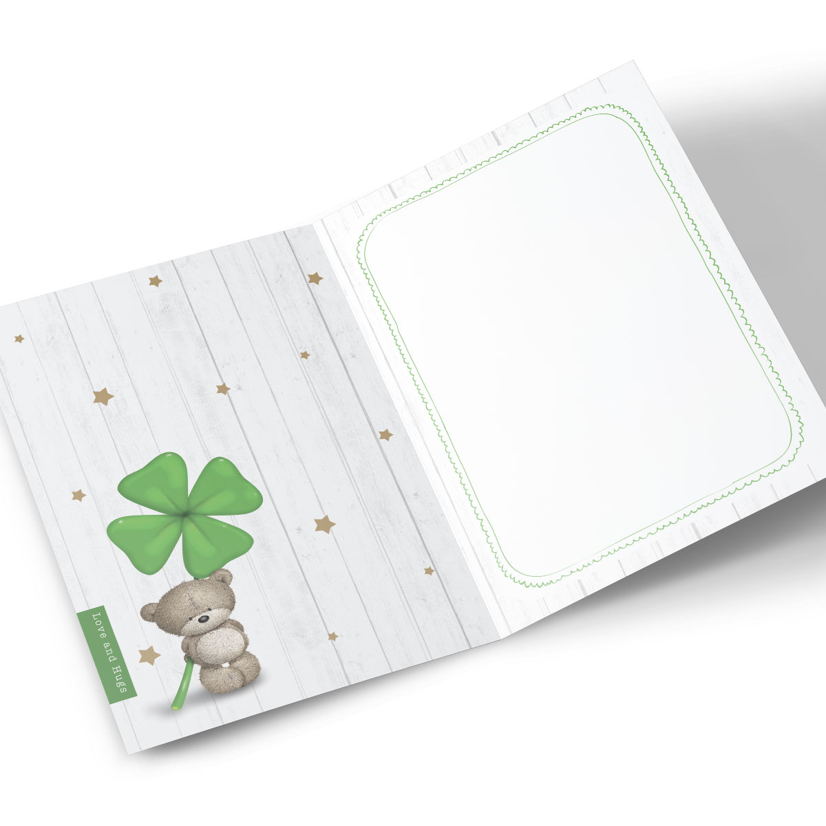 Personalised Hugs Bear Good Luck Card - Four-Leaf Clover