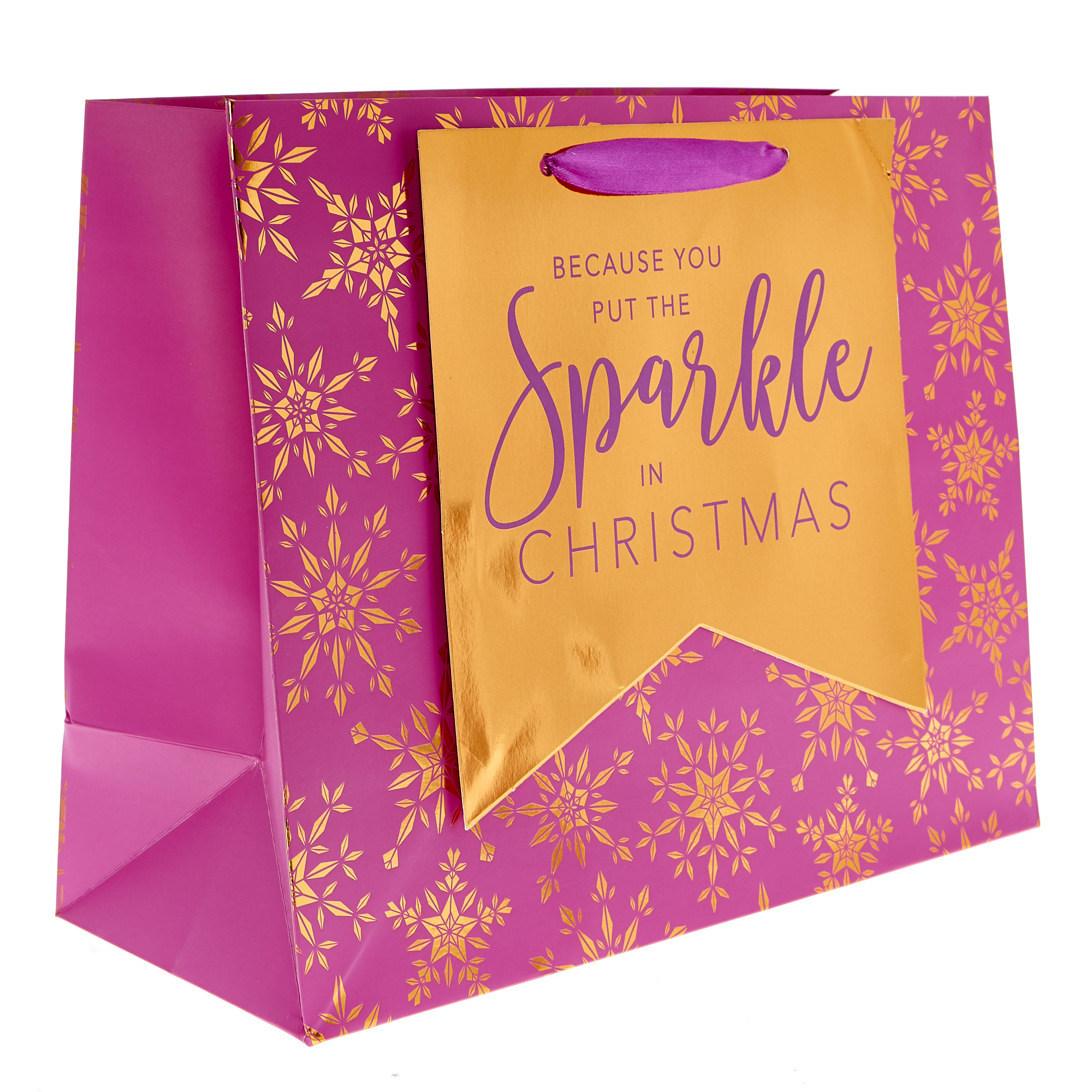 Medium Landscape Pink & Bronze Snowflakes Christmas Gift Bag
