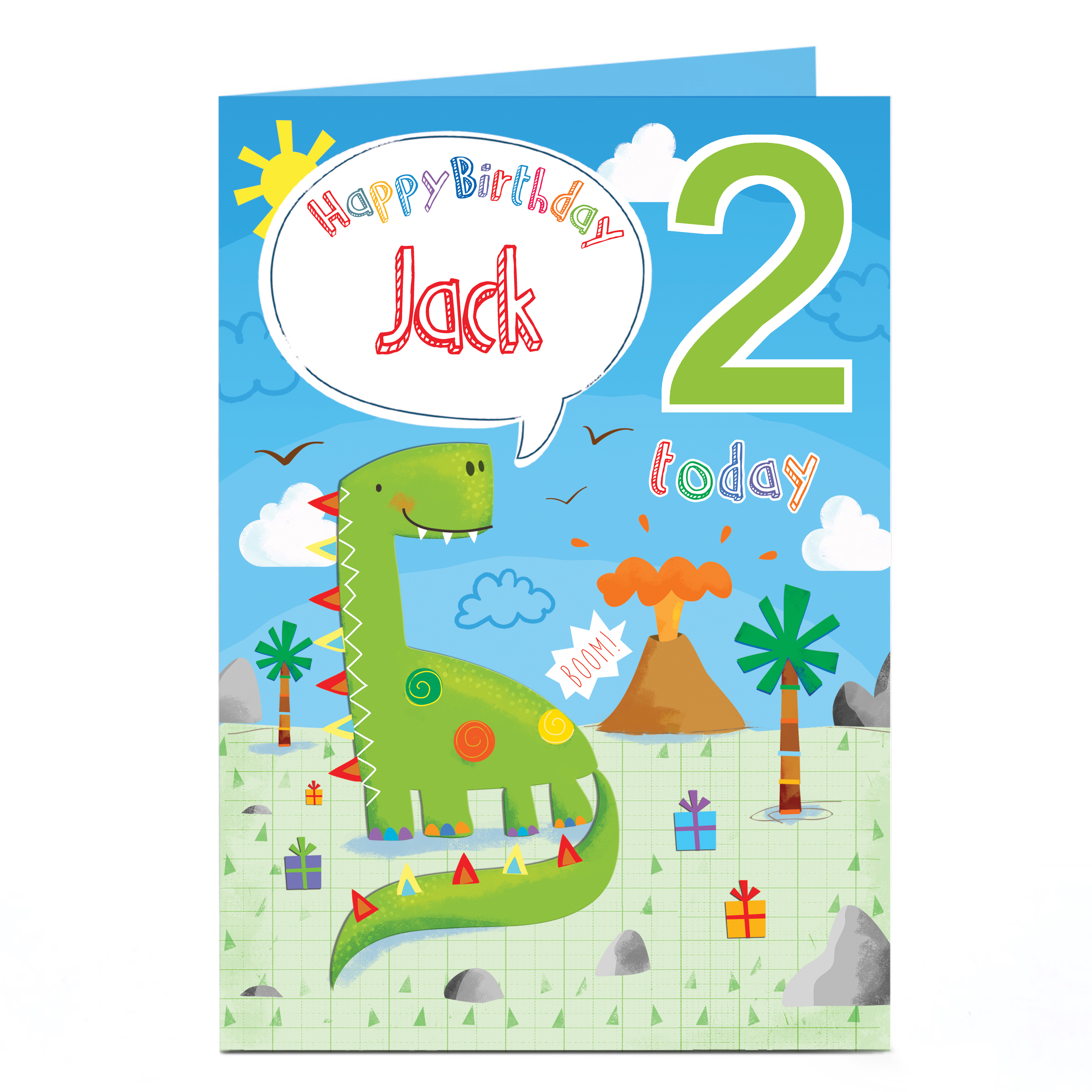buy personalised any age birthday card  dinosaur for gbp