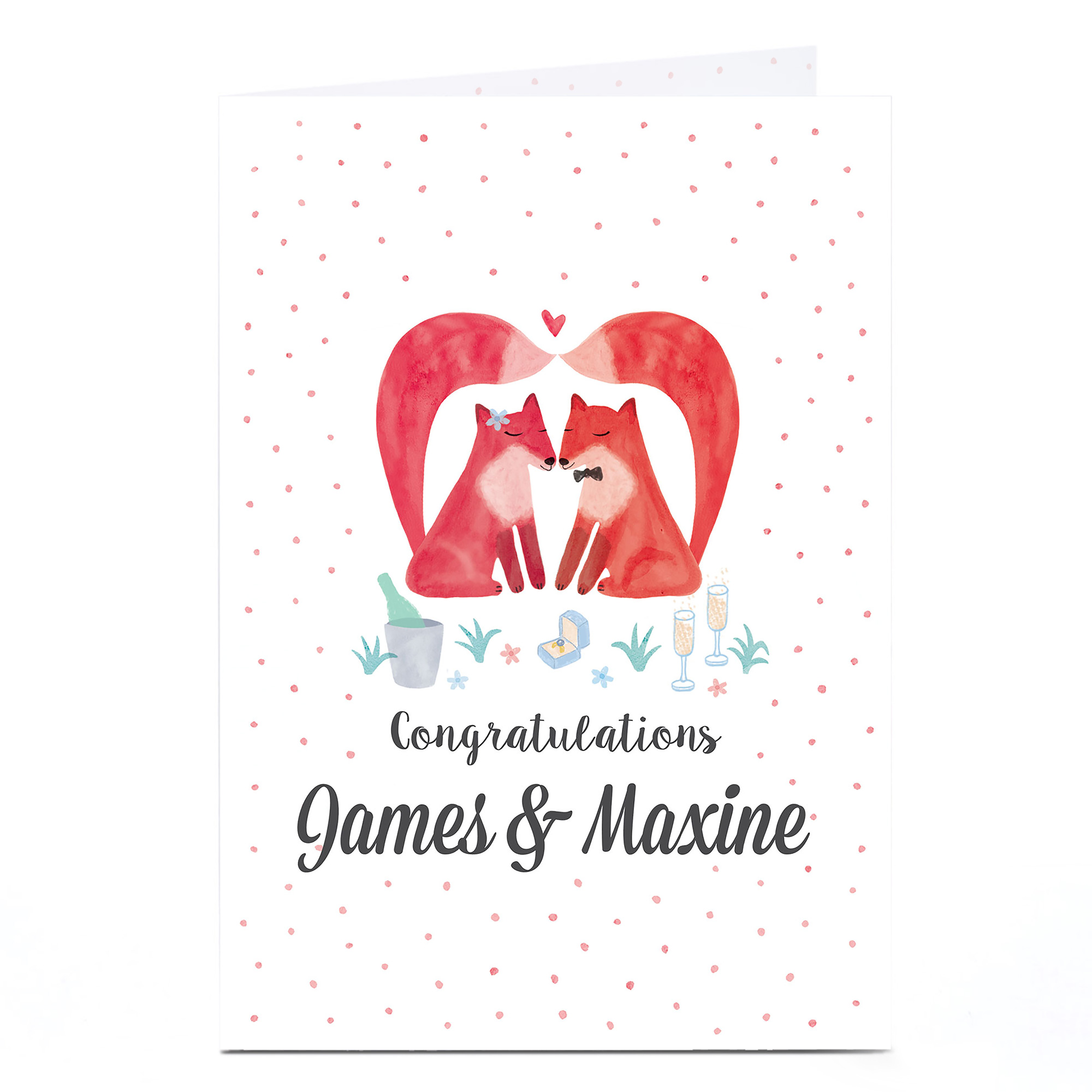 Personalised Wedding Card - Polka Dot Foxes