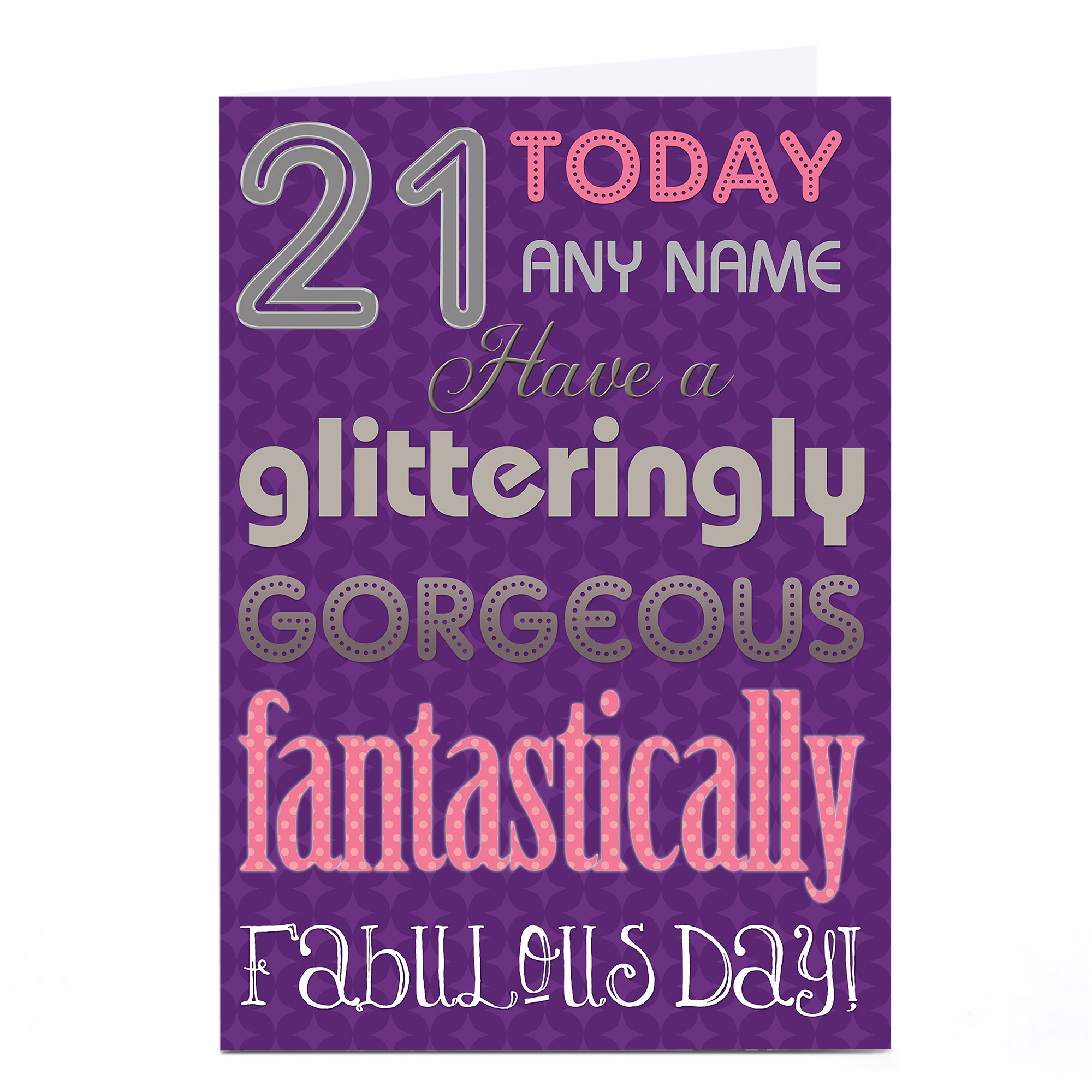 Personalised 21st Birthday Card - Glitteringly Gorgeous