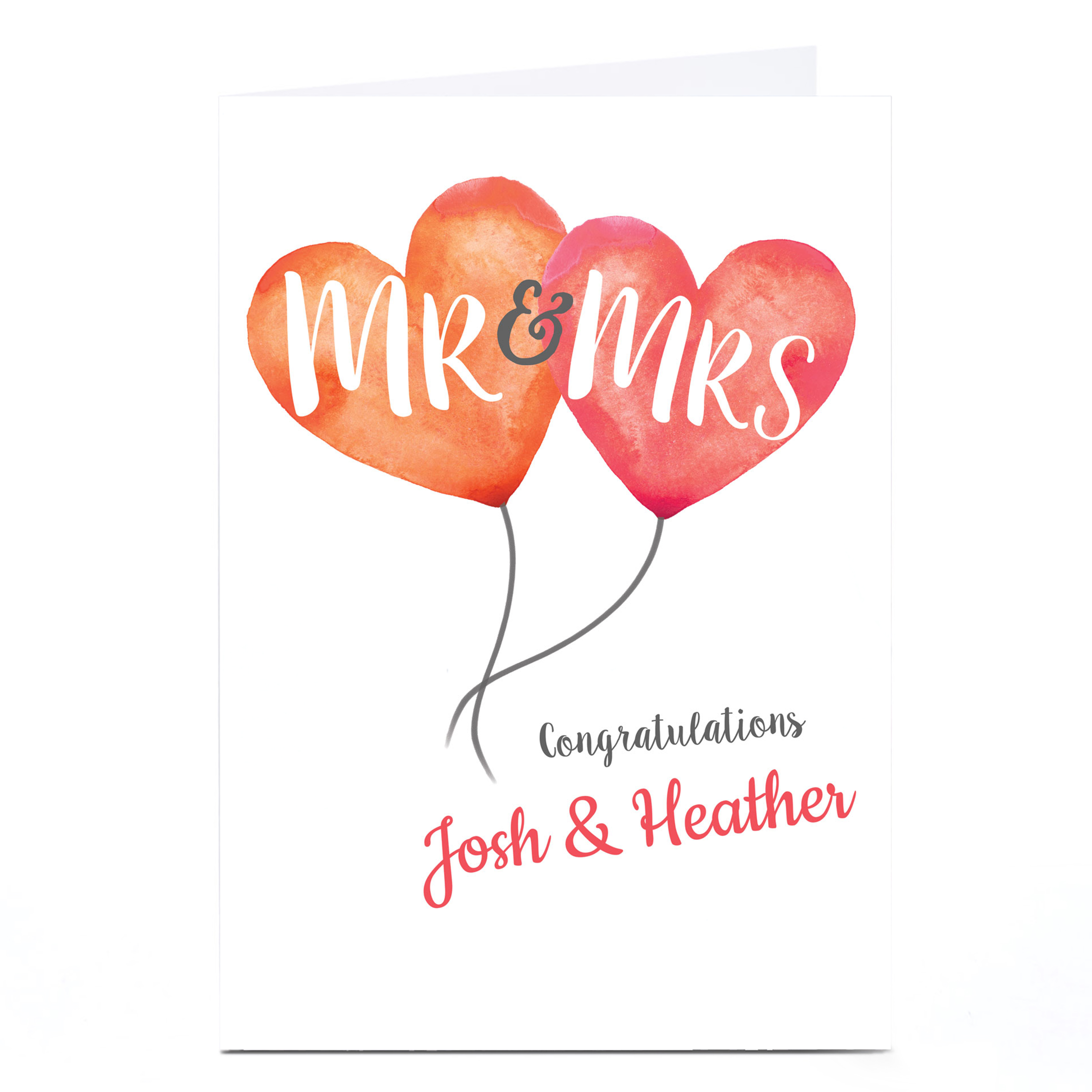 Personalised Wedding Card - Mr & Mrs Heart Balloons