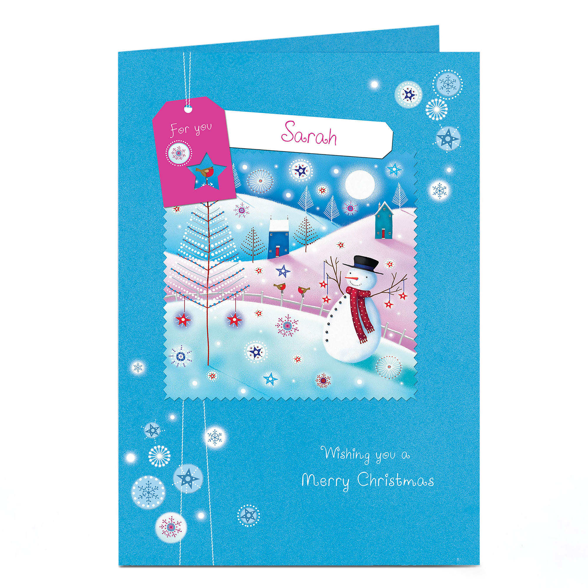 Personalised Christmas Card - Blue Snowman