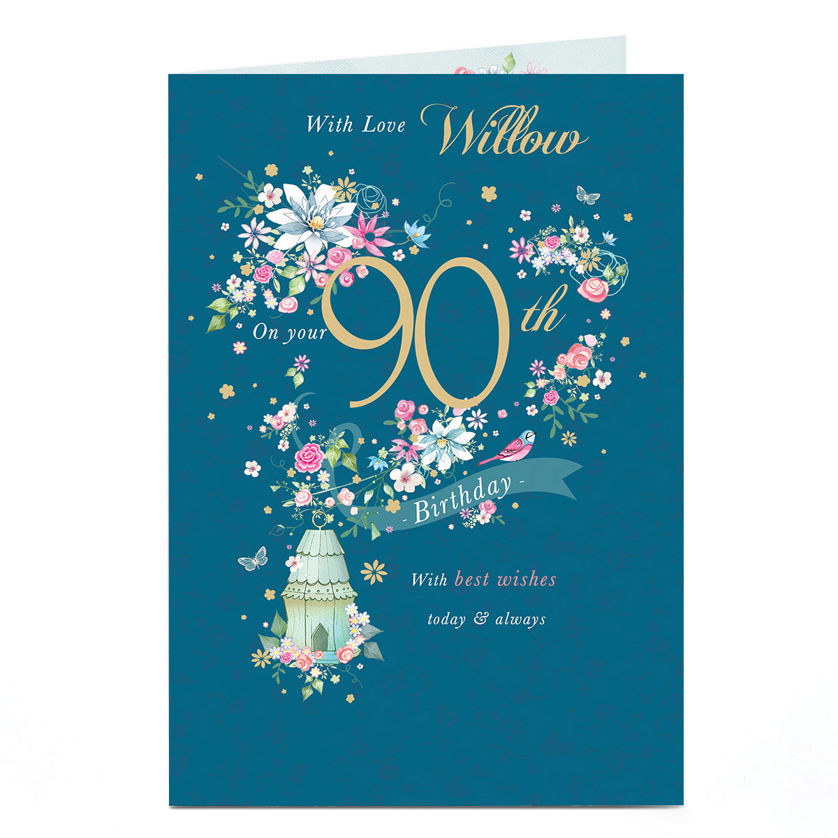 Personalised Any Age Birthday Card - Flowers & Birdhouse