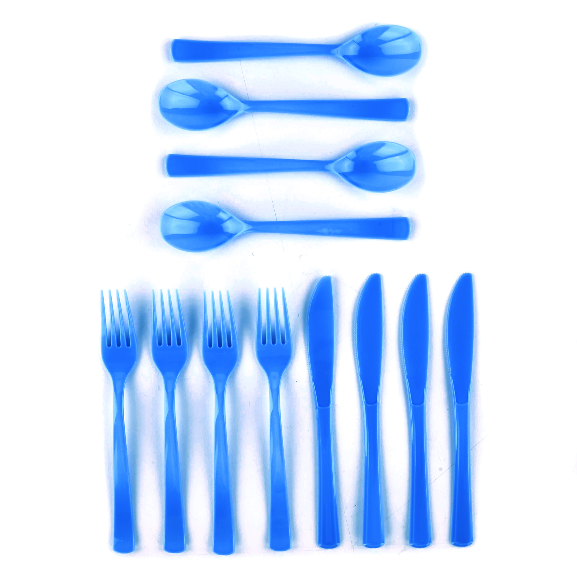 Reusable Blue Plastic Cutlery Set - 18 Pieces