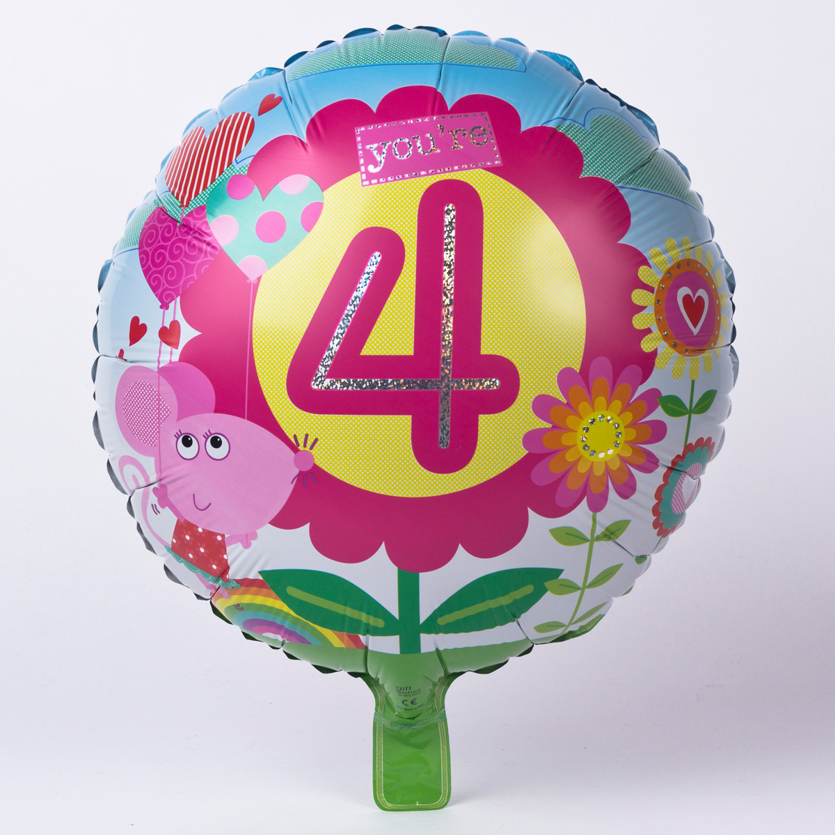 Cute Mouse Age 4 Foil Helium Balloon