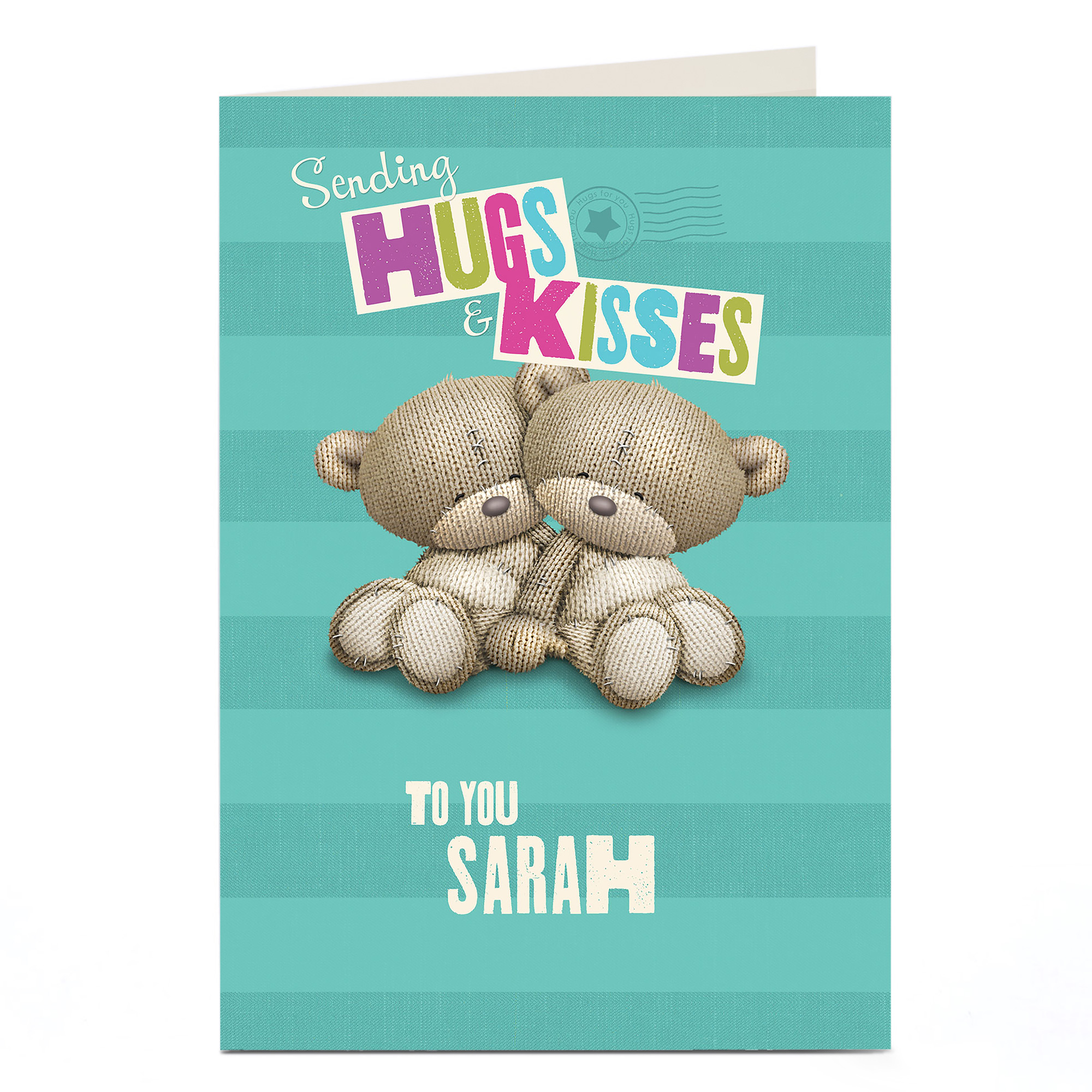 Personalised Hugs Bear Card - Sending Hugs And Kisses