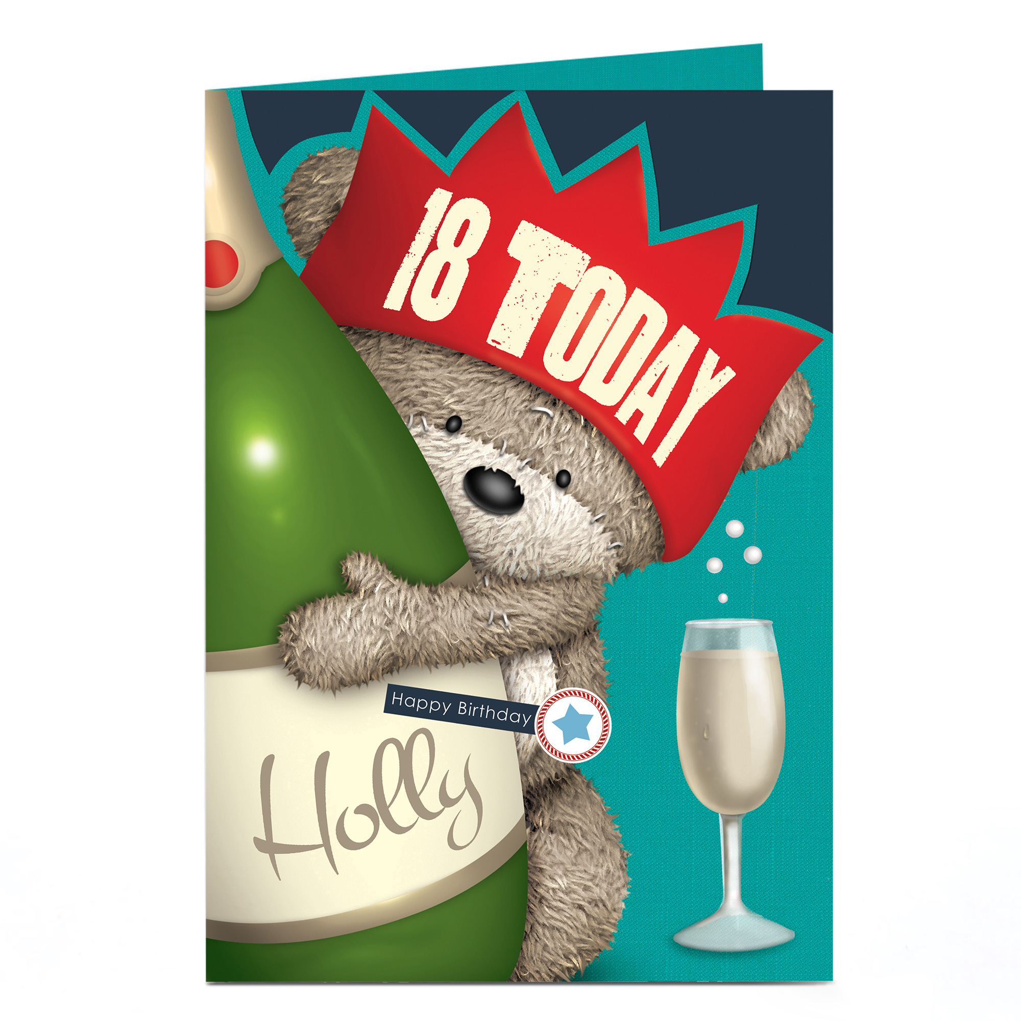 Personalised Any Age Birthday Card - Hugs Bear & Champagne