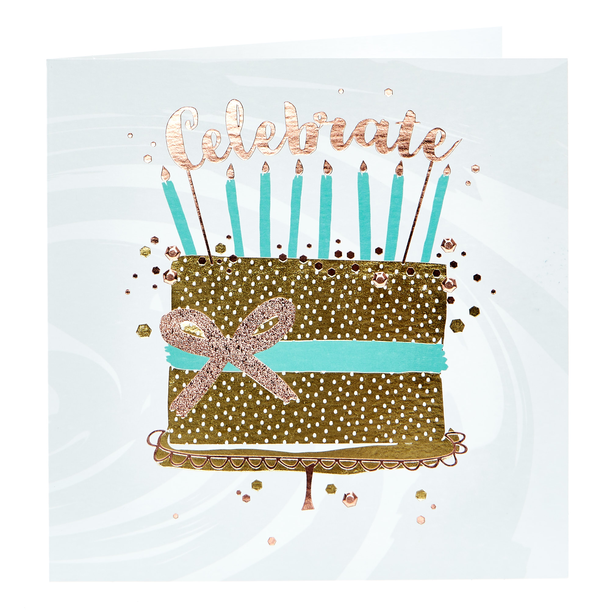 Birthday Card - Celebrate, Gold Cake