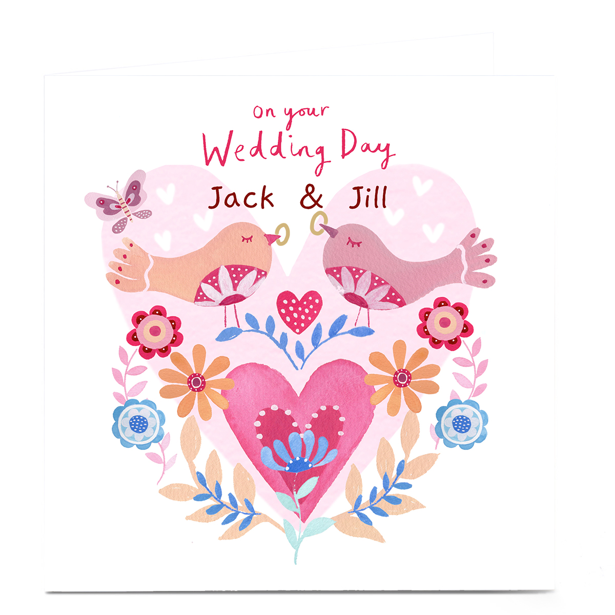 Personalised Lindsay Love to Draw Wedding Card - Hearts