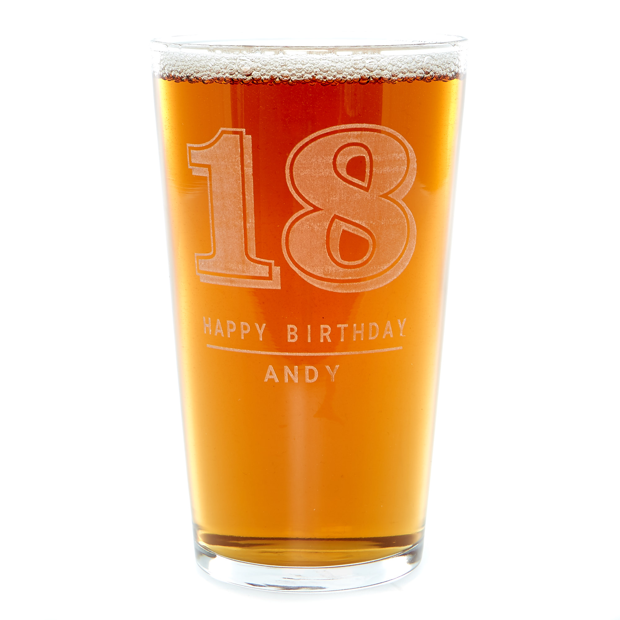 Personalised 18th Birthday Pint Glass - Any Name & Message