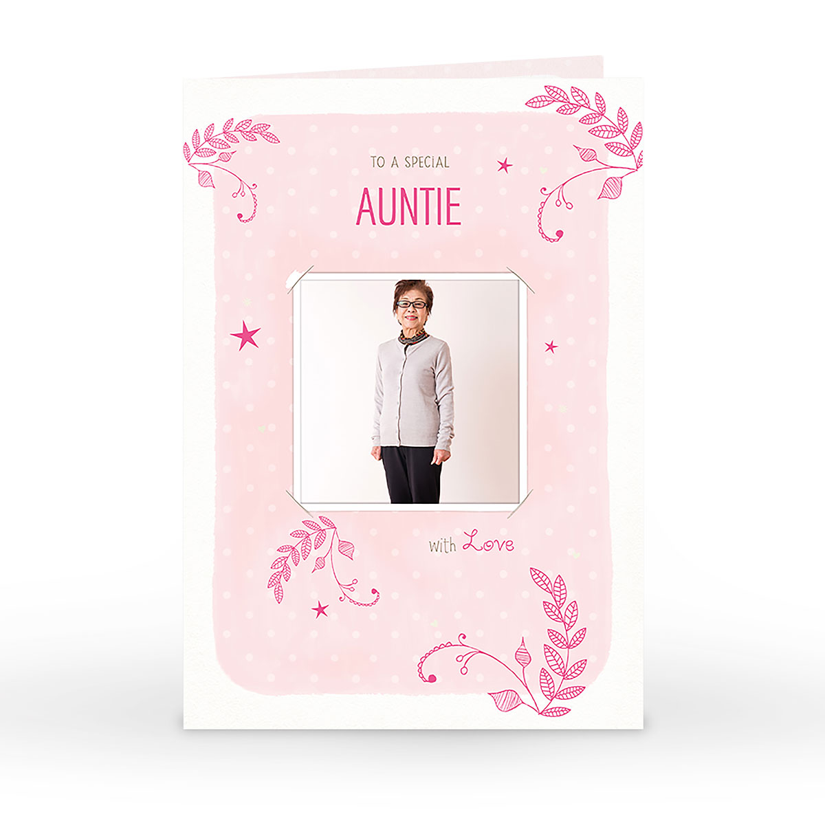Photo Birthday Card - Auntie, Pink Leaves