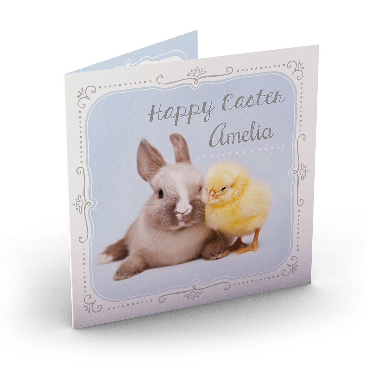 Personalised Easter Card - Chick & Rabbit