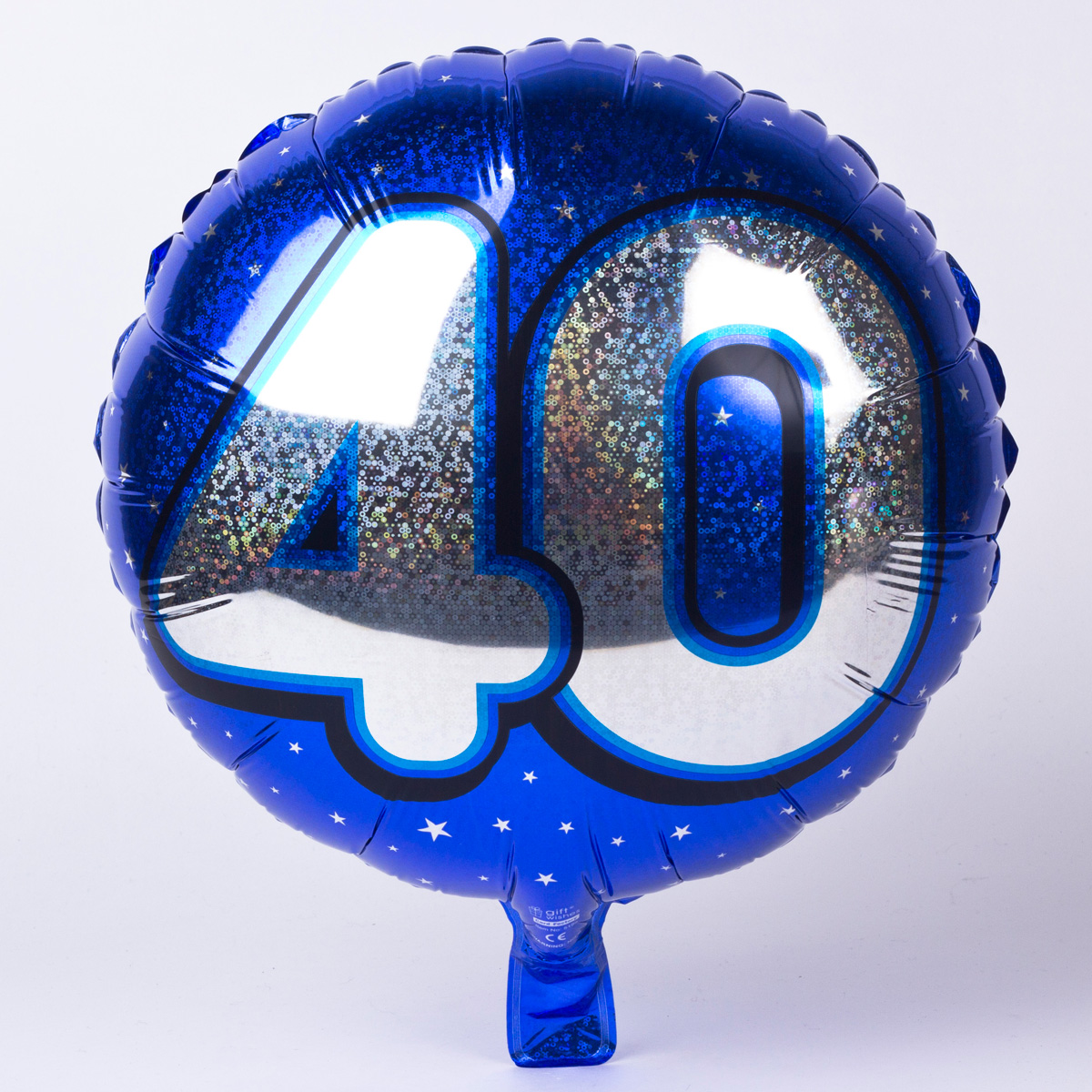 Holographic Blue Age 40 Foil Helium Balloon