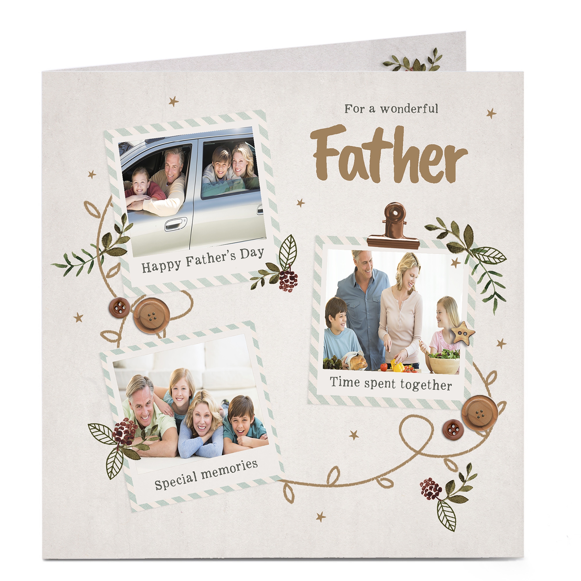 Photo Father's Day Card - 3 Photos Any Recipient