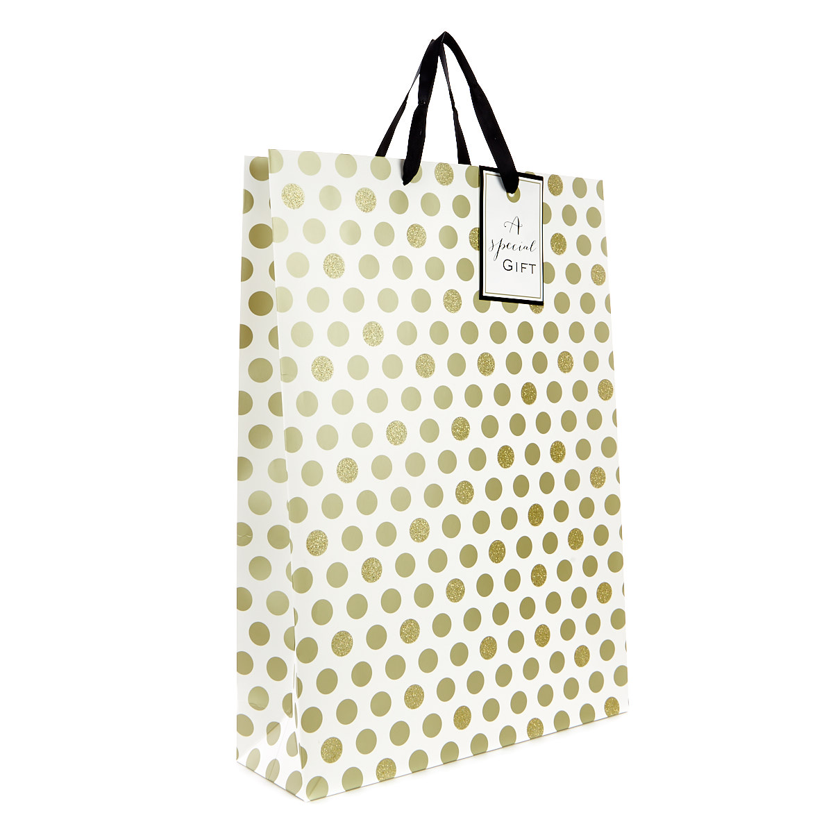 Large Gold Sparkle Polka Dot Gift Bag - A Special Gift