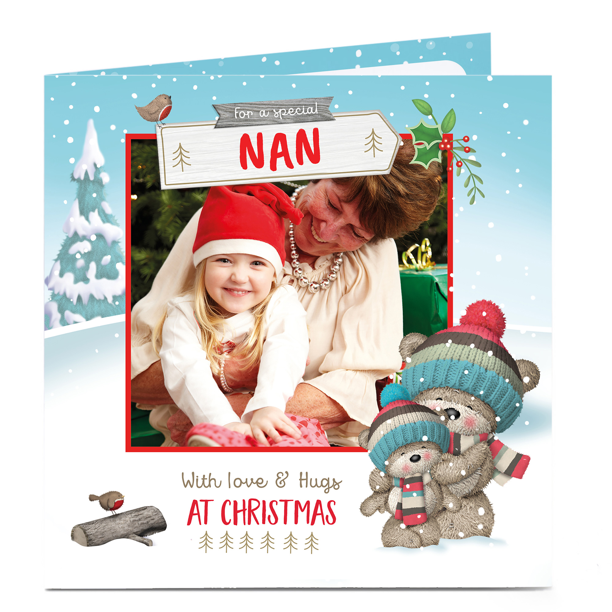 Photo Christmas Card - With Love & Hugs, Nan