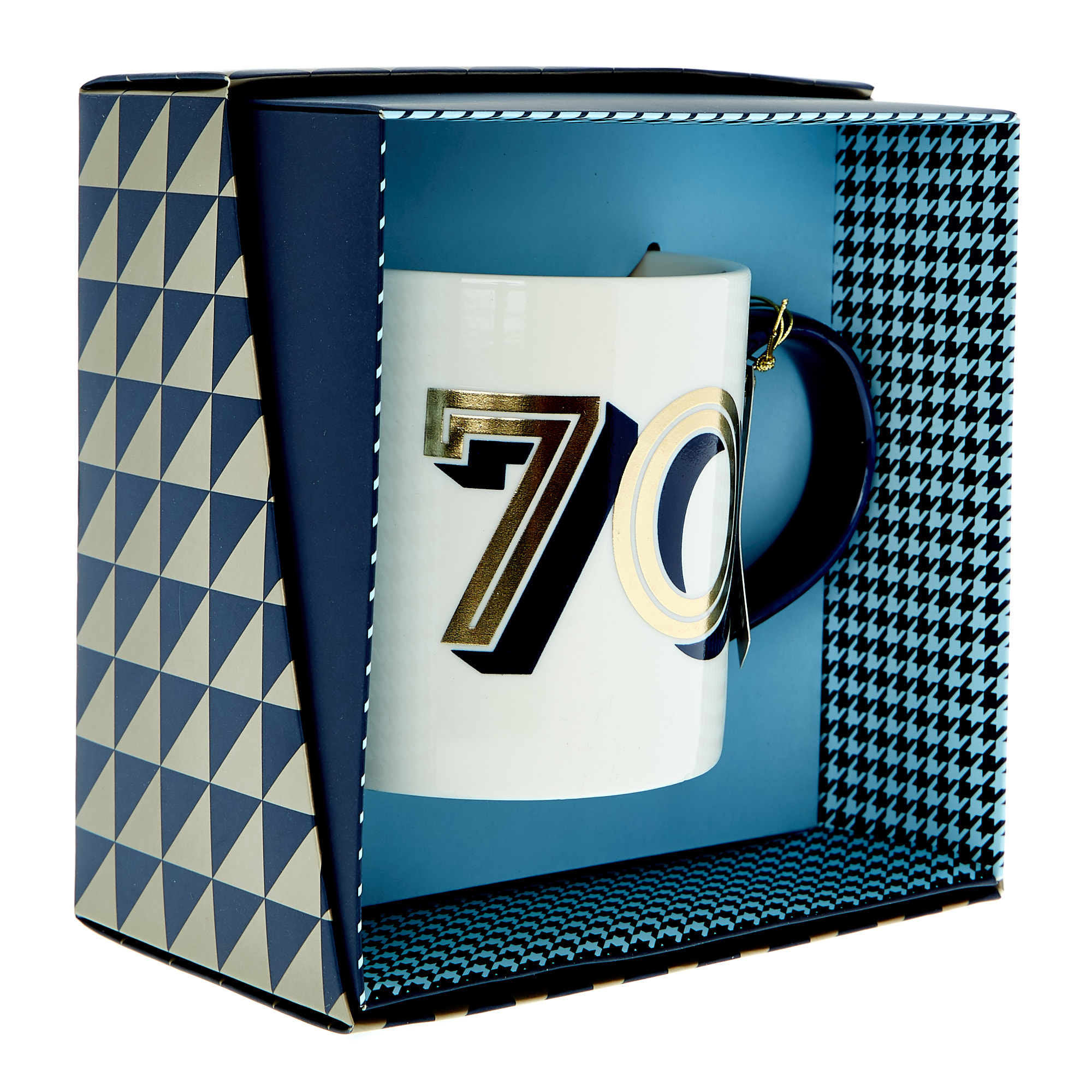 70th Birthday Mug In A Box - Blue & Gold