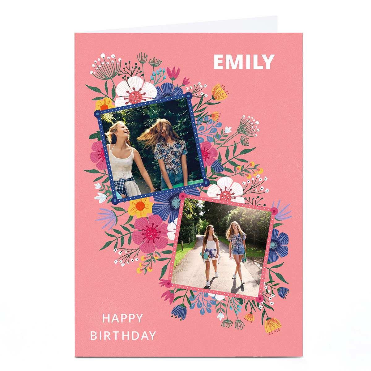 Photo Dalia Clark Birthday Card Card - Floral Frames Pink