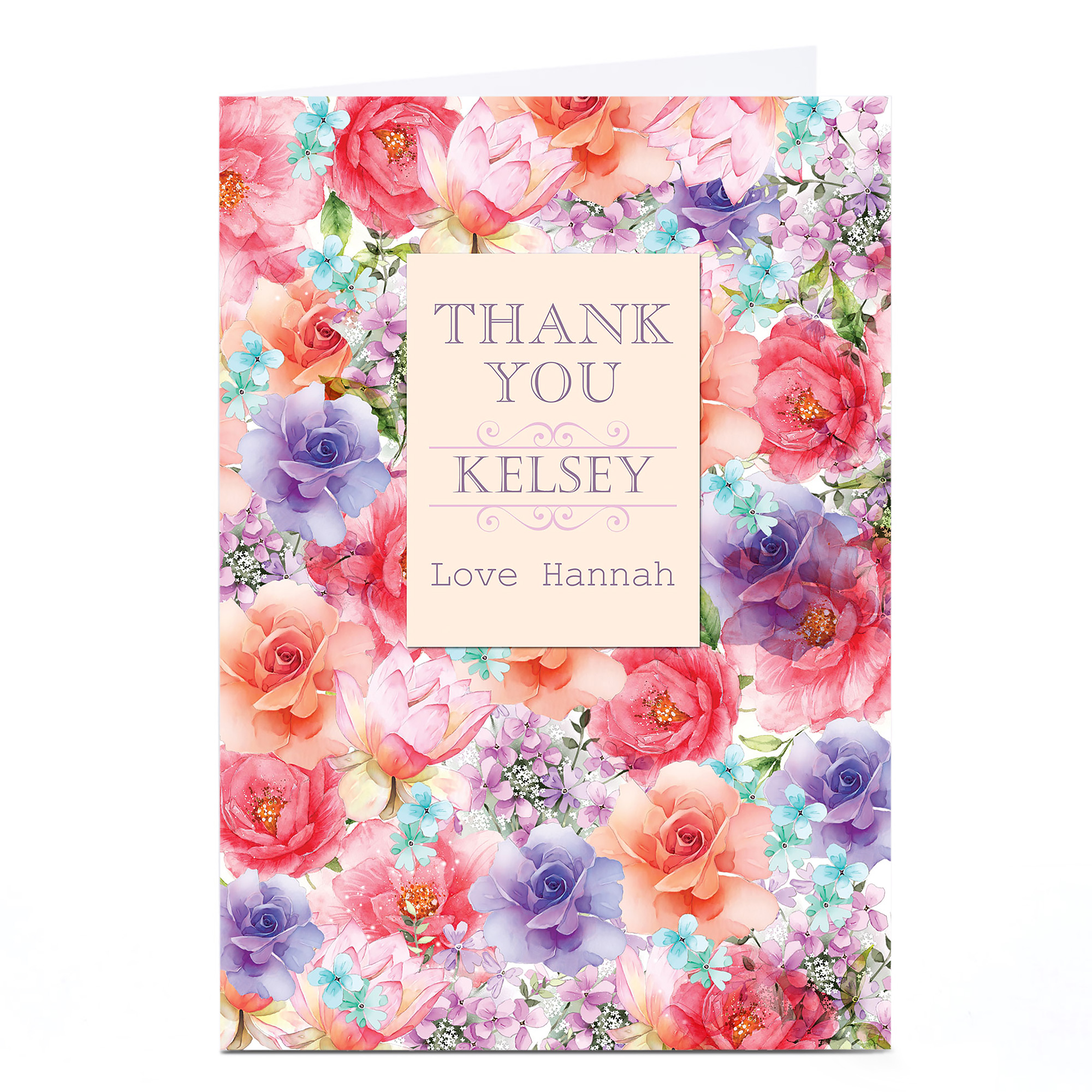 Personalised Thank You Card - Colourful Flowers