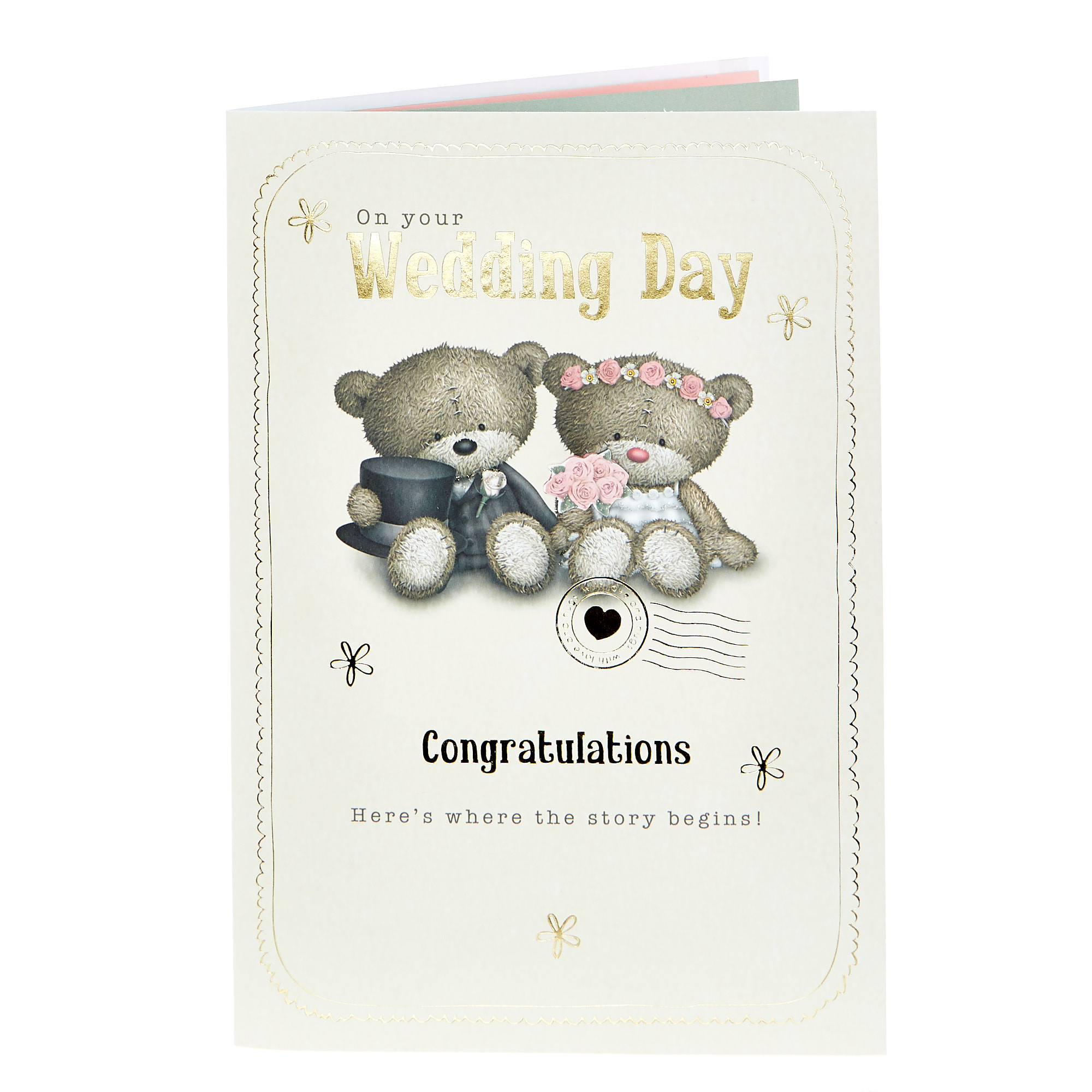 Hugs Bear Wedding Card - Where The Story Begins