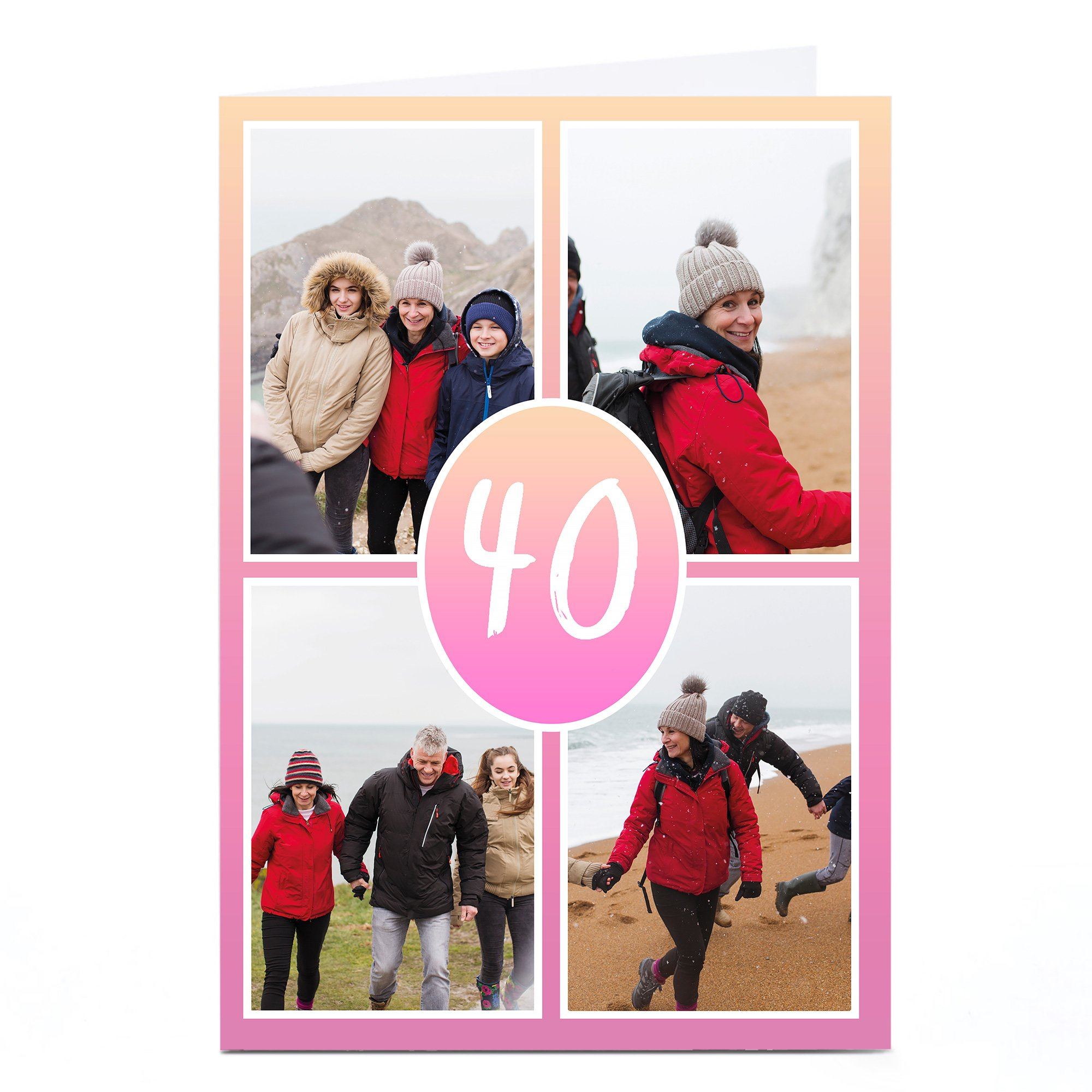 Personalised 40th Milestone Age Photo Card - Pink Gradient Editable Age