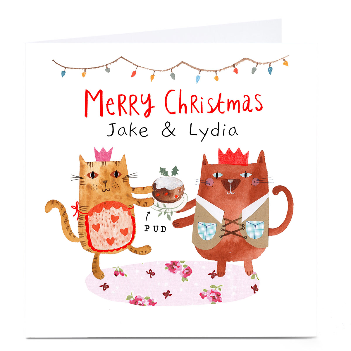 Personalised Lindsay Loves to Draw Christmas Card - Cat Couple
