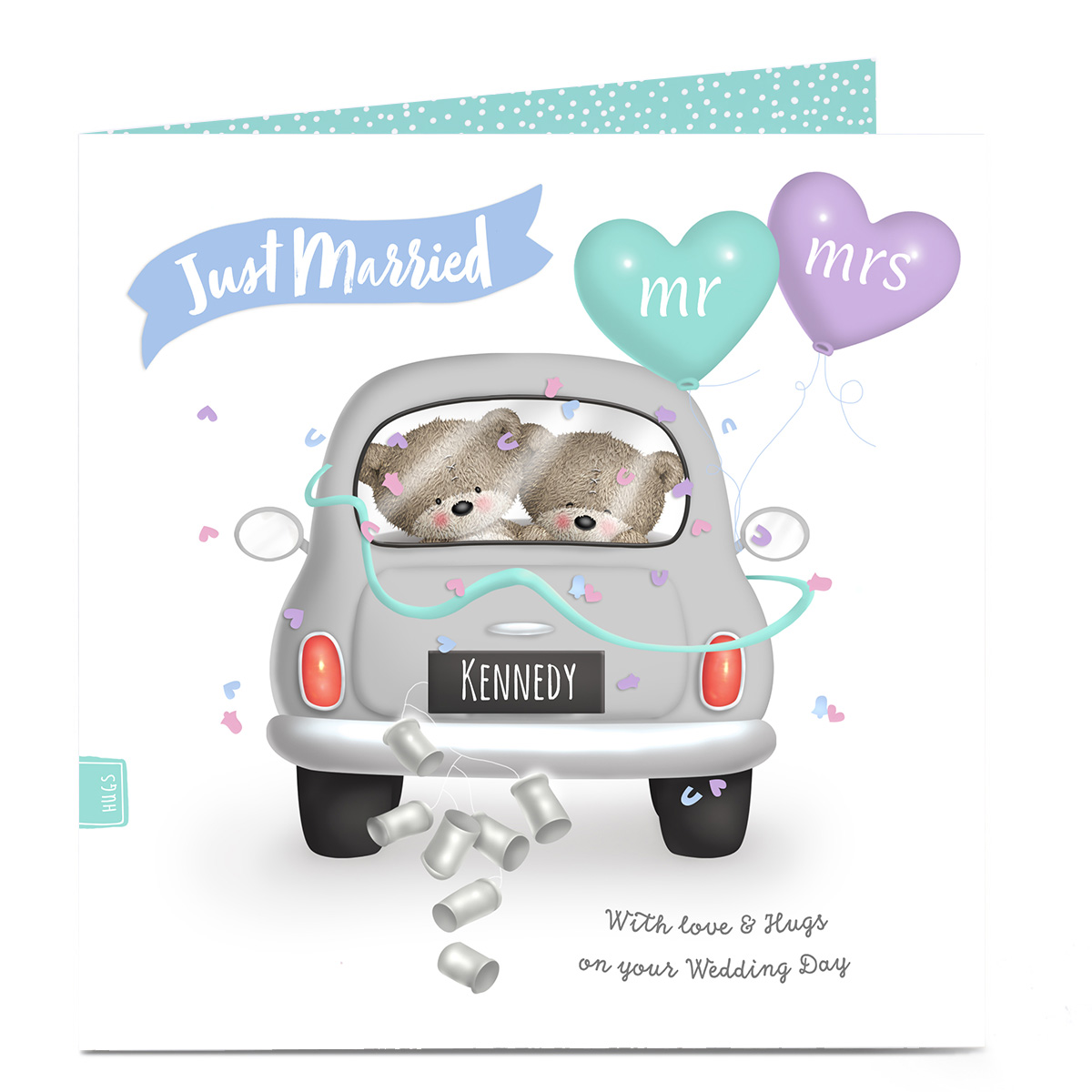 Personalised Hugs Wedding Card - Wedding Car