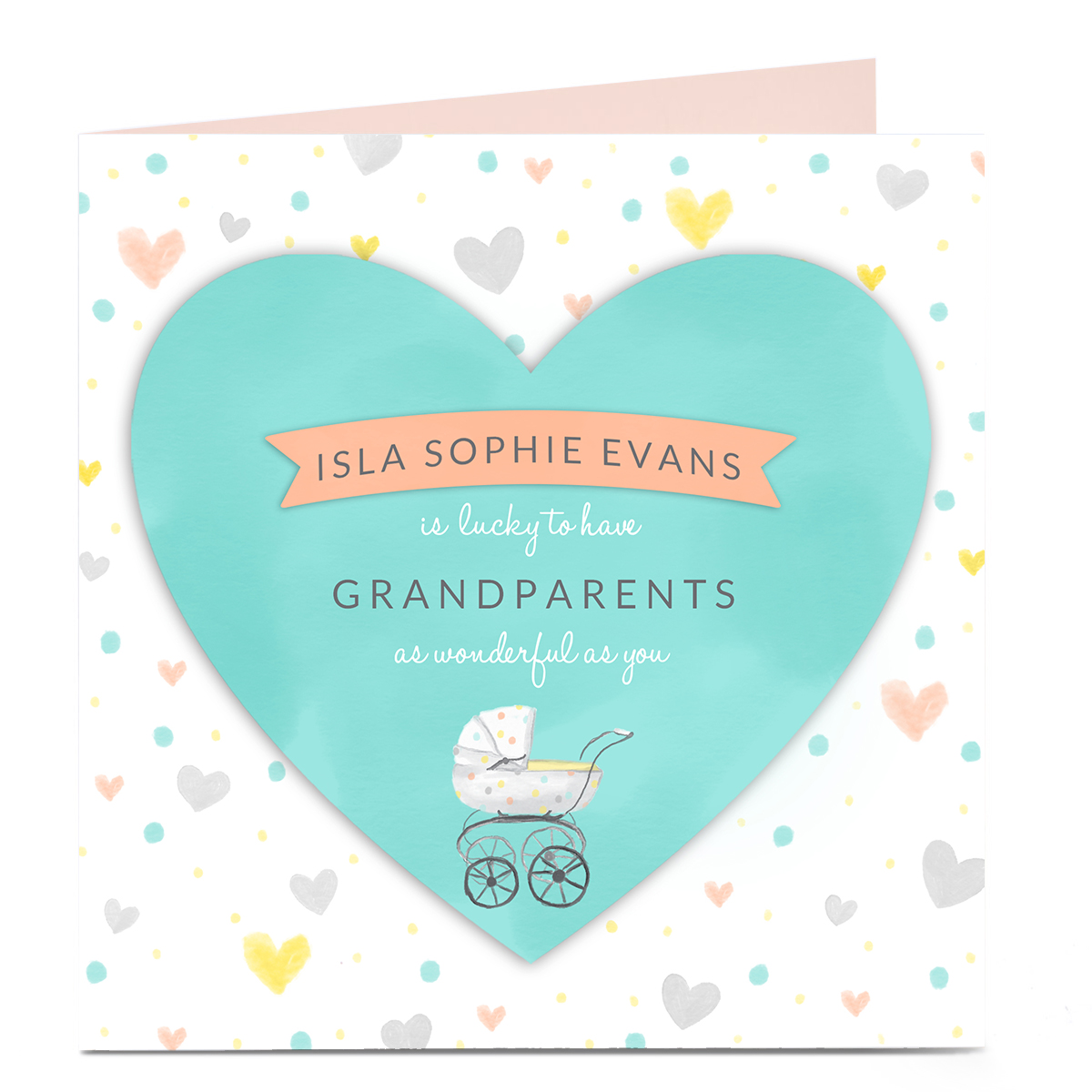 Personalised Card - New Baby - Grandparents Hearts Cute