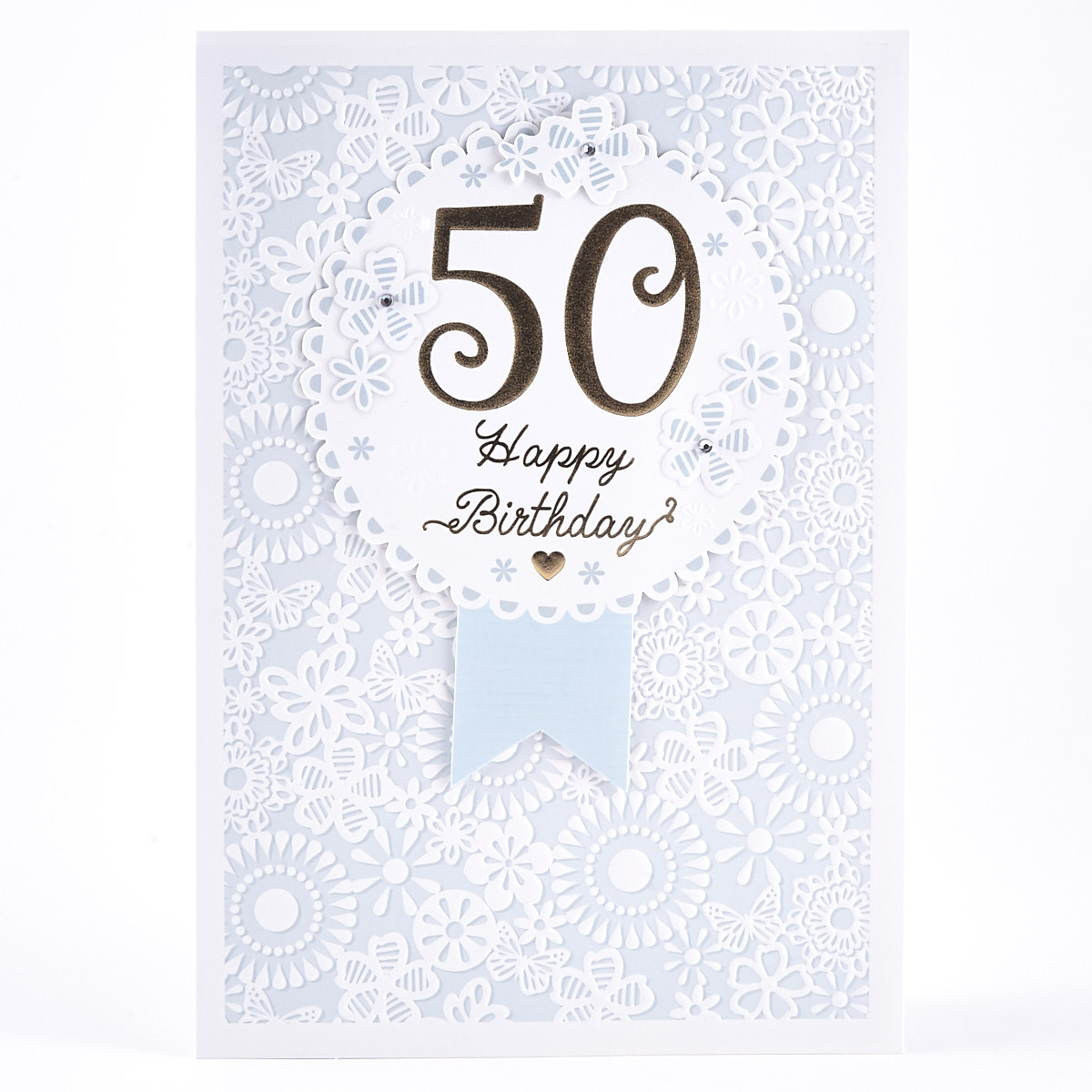 50th Birthday Card - Blue Floral Pattern
