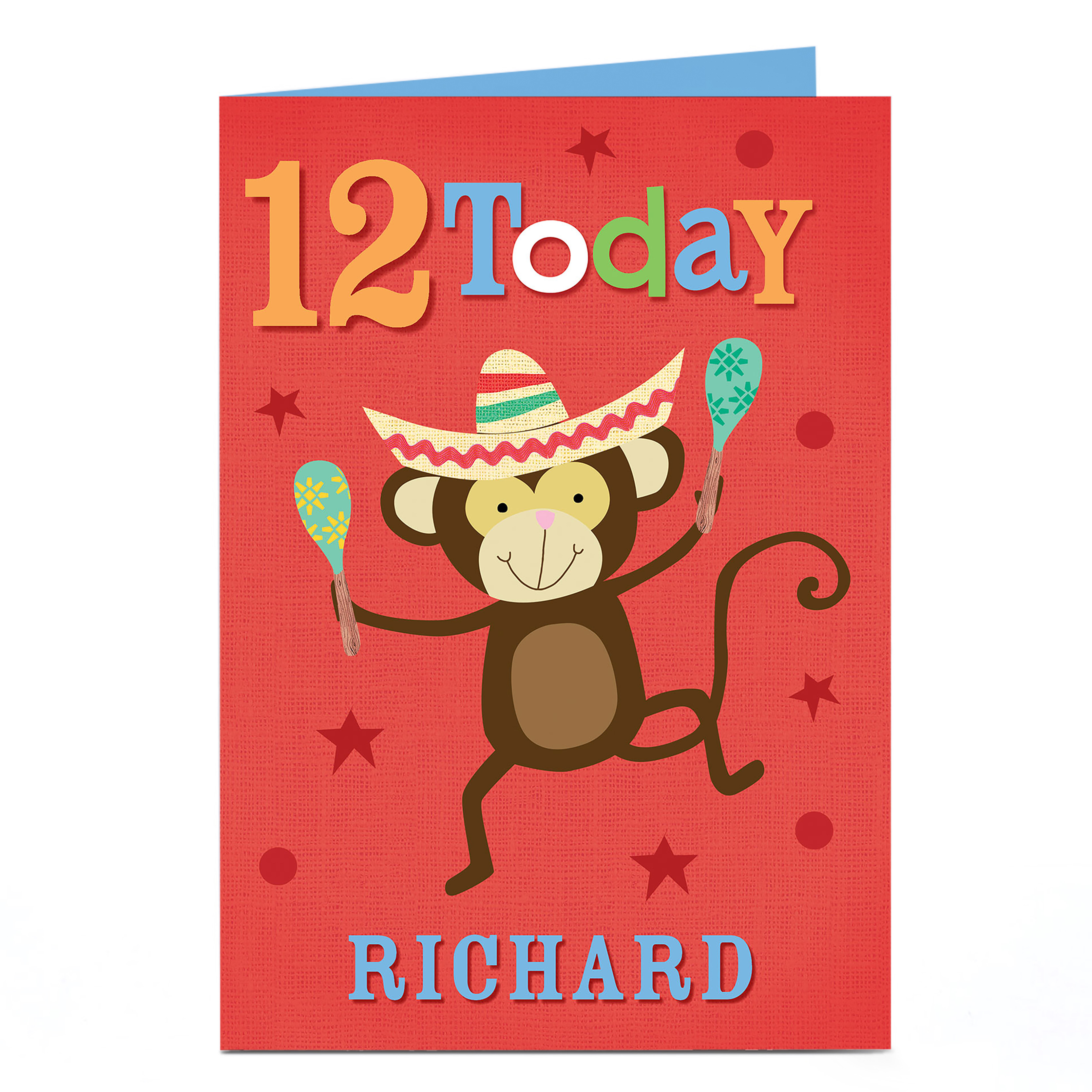 Personalised Any Age Birthday Card - Maraca Monkey