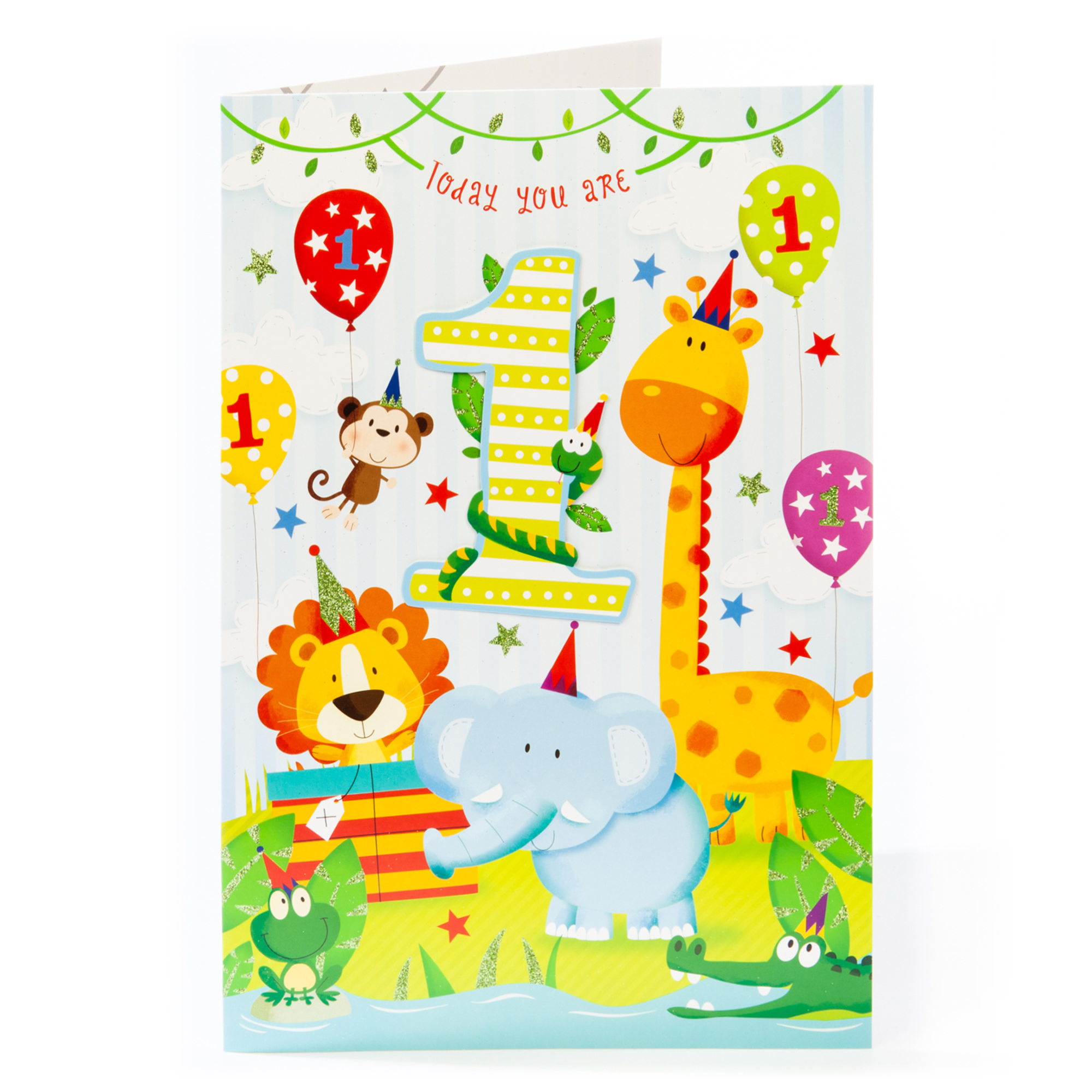 Giant 1st Birthday Card - Jungle Animals