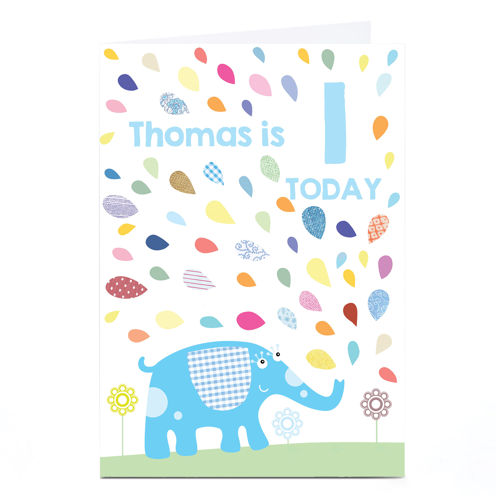 Personalised Any Age Birthday Card - Blue Elephant