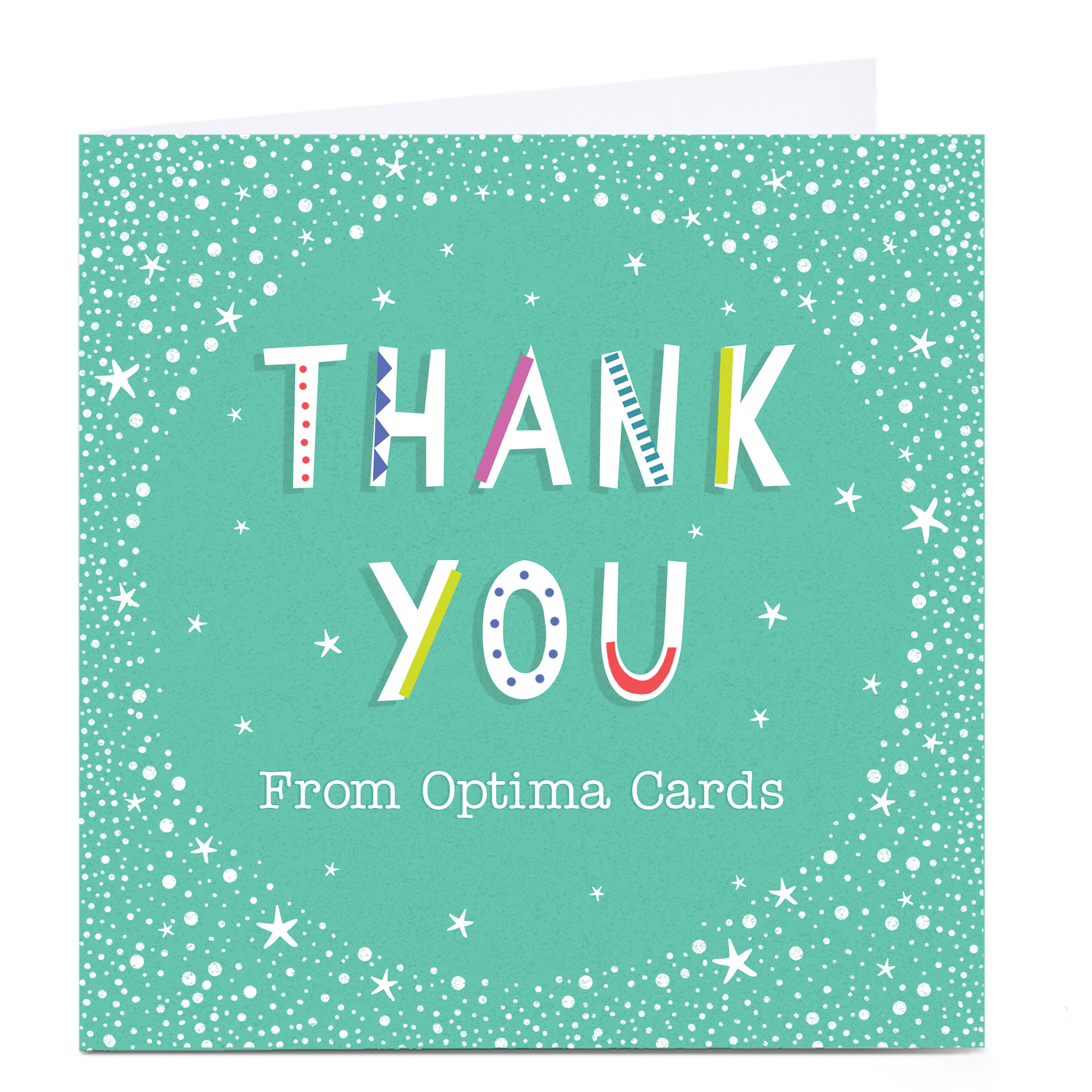 Personalised Business Thank You Card - Mint & White Stars