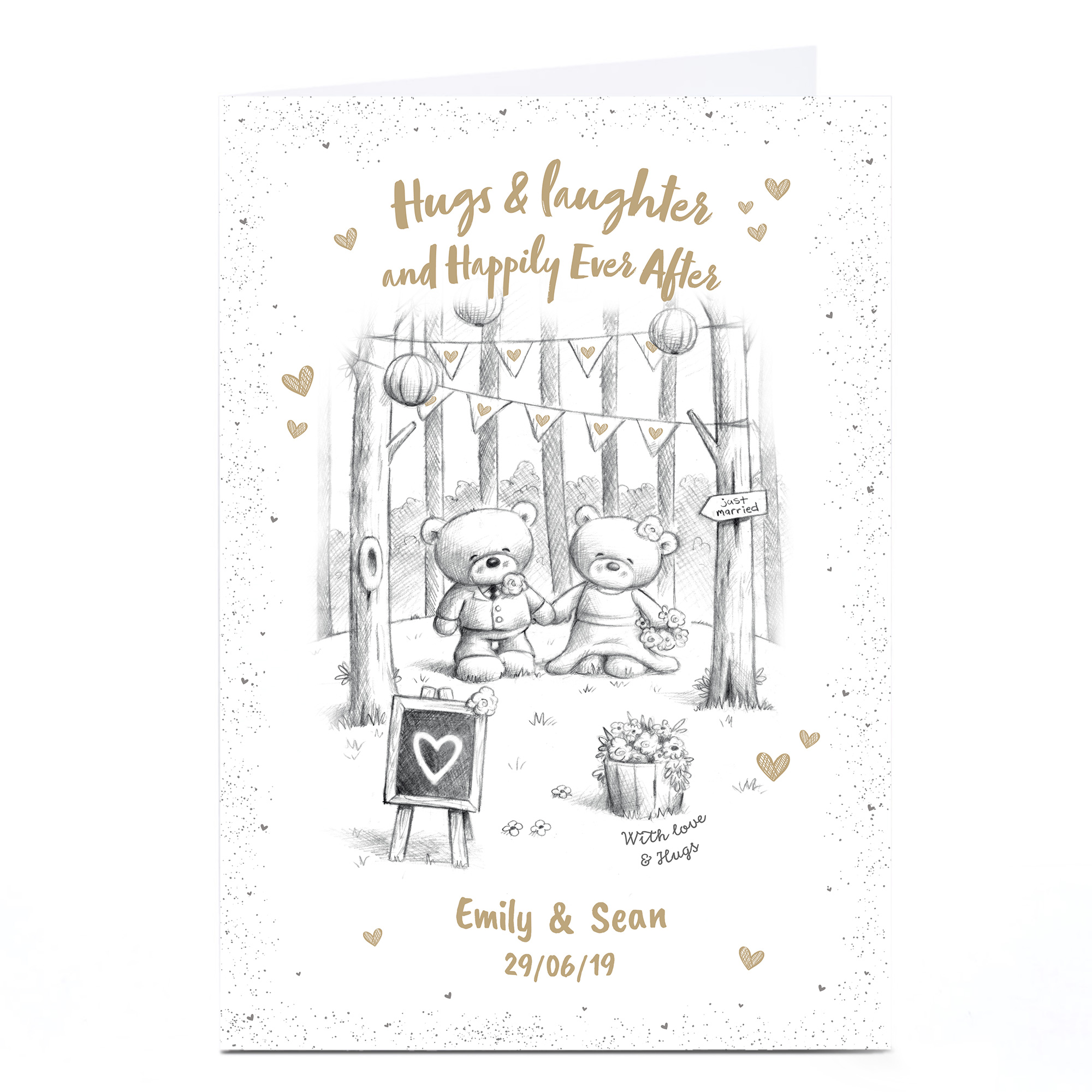 Personalised Hugs Bear Wedding Card - Happily Ever After